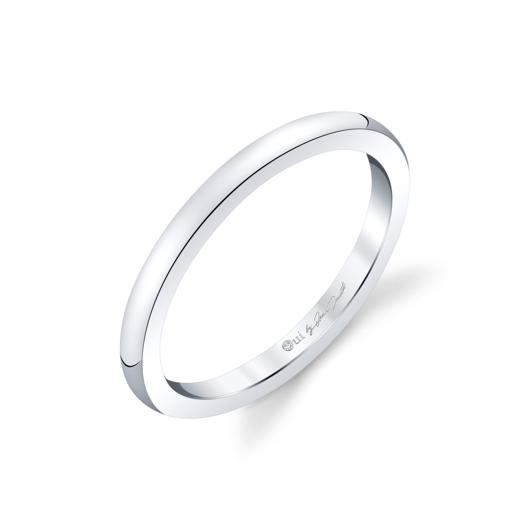 Colette Women's Wedding Band in solid metal in Platinum Standing View by Oui by Jean Dousset