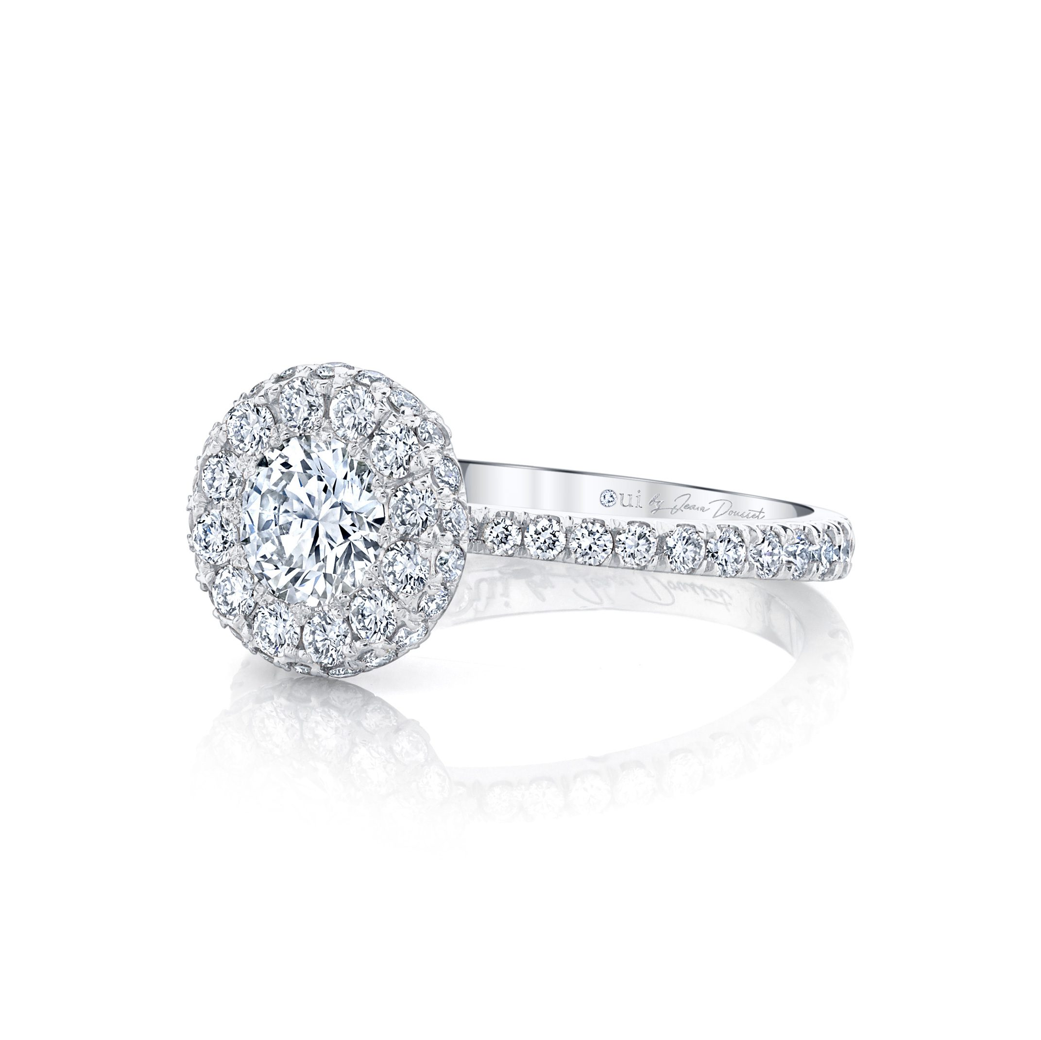 Eloise Round Brilliant Seamless Halo® Engagement Ring with diamond pavé in 18k White Gold Side View by Oui by Jean Dousset