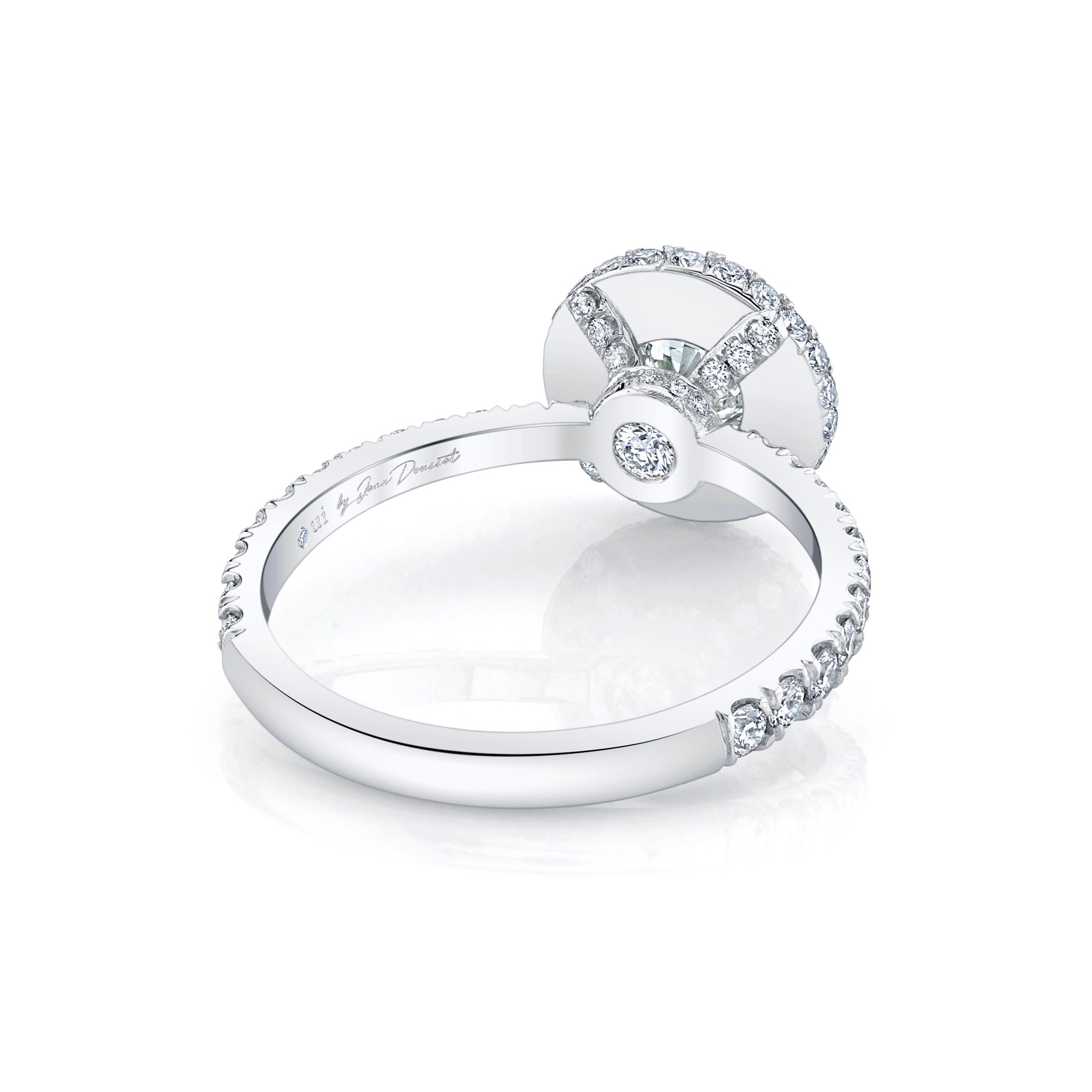 Eloise Round Brilliant Seamless Halo® Engagement Ring with diamond pavé in 18k White Gold Back View by Oui by Jean Dousset