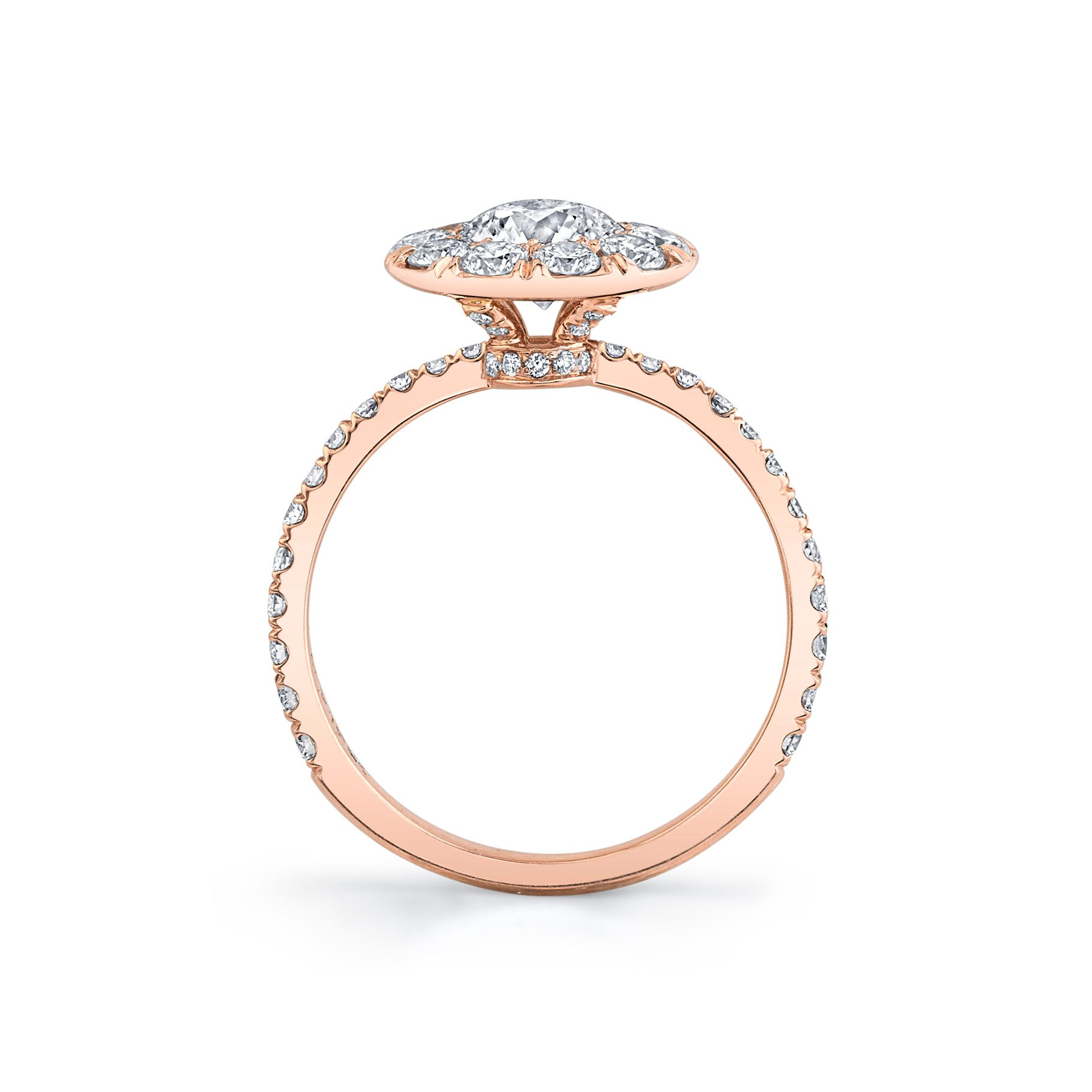 Eloise Floating Round Brilliant Seamless Solitaire® Engagement Ring with diamond pavé in 18k Rose Gold Standing View by Oui by Jean Dousset