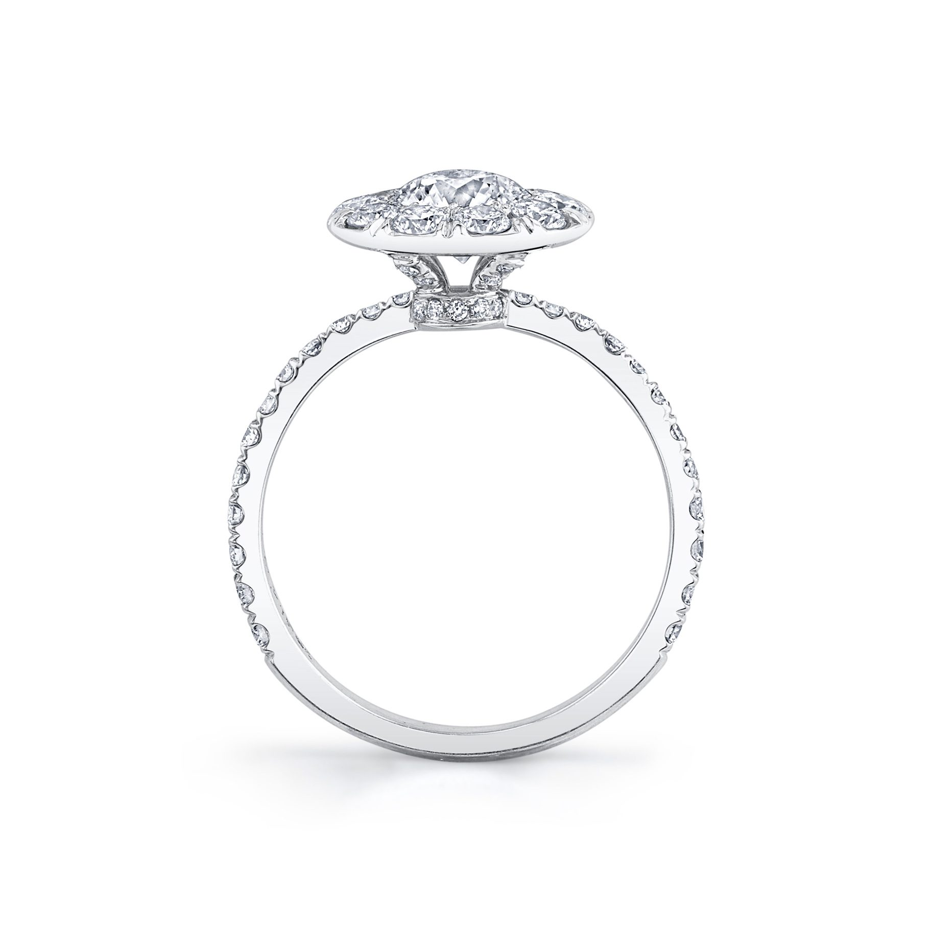 Eloise Floating Round Brilliant Seamless Solitaire® Engagement Ring with diamond pavé in 18k White Gold Standing View by Oui by Jean Dousset