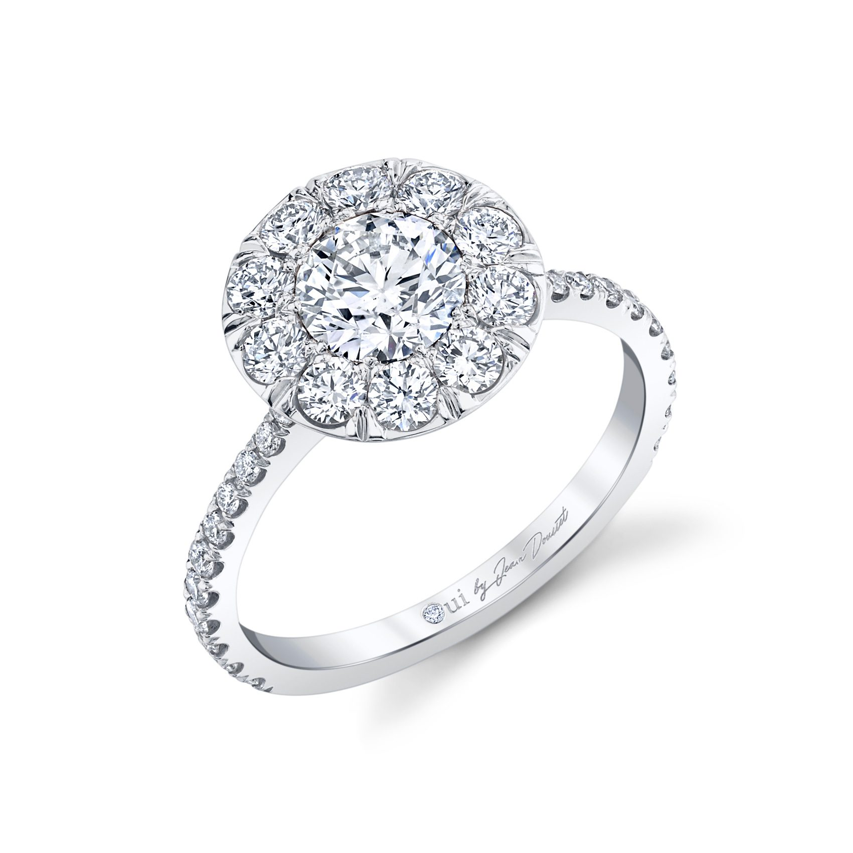 Eloise Round Brilliant Seamless Solitaire® Engagement Ring with diamond pavé in 18k White Gold Profile View by Oui by Jean Dousset