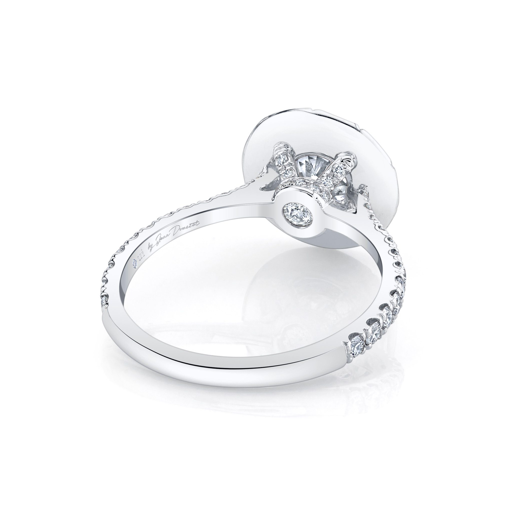 Eloise Round Brilliant Seamless Solitaire® Engagement Ring with diamond pavé in 18k White Gold Back View by Oui by Jean Dousset