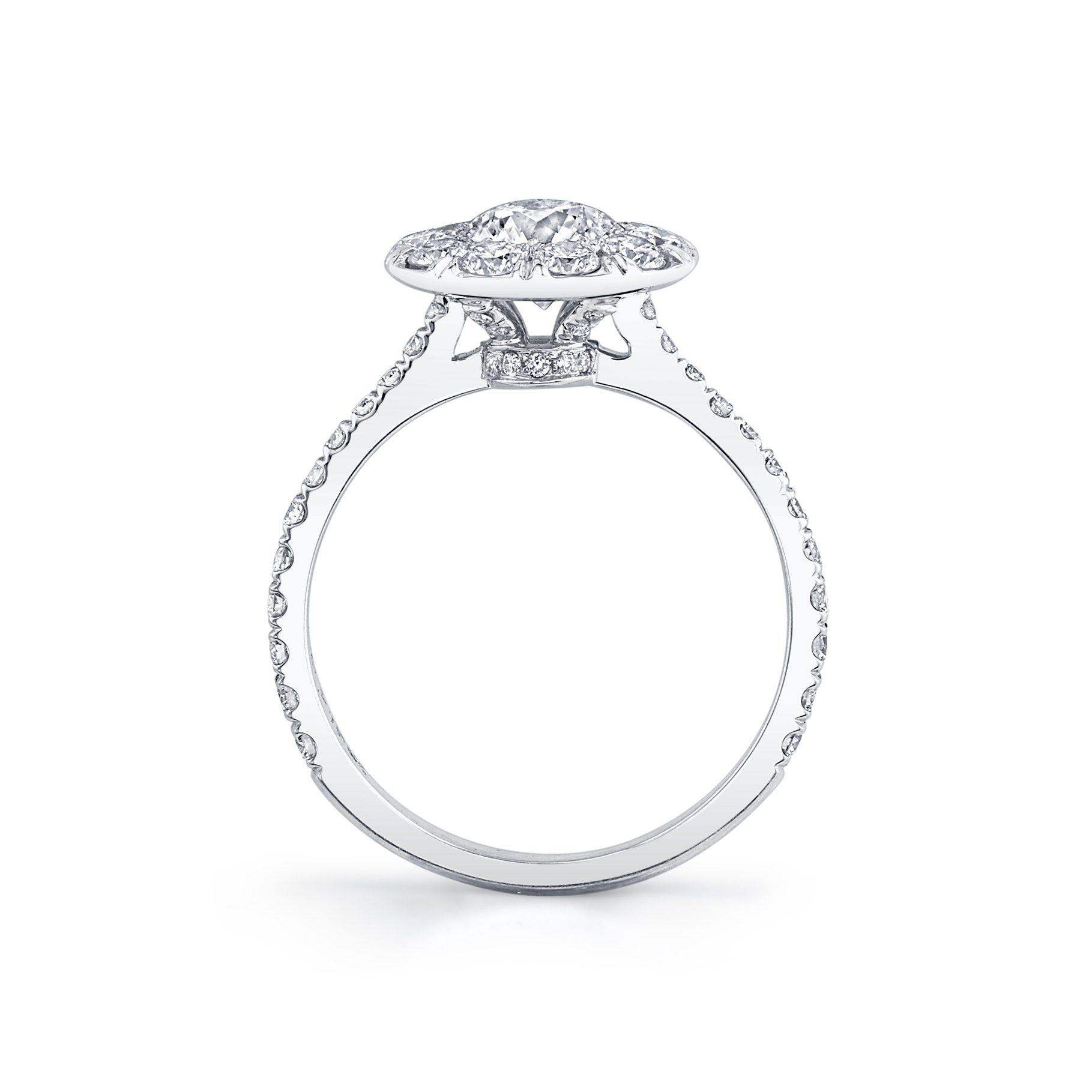 Eloise Round Brilliant Seamless Solitaire® Engagement Ring with diamond pavé in 18k White Gold Standing View by Oui by Jean Dousset