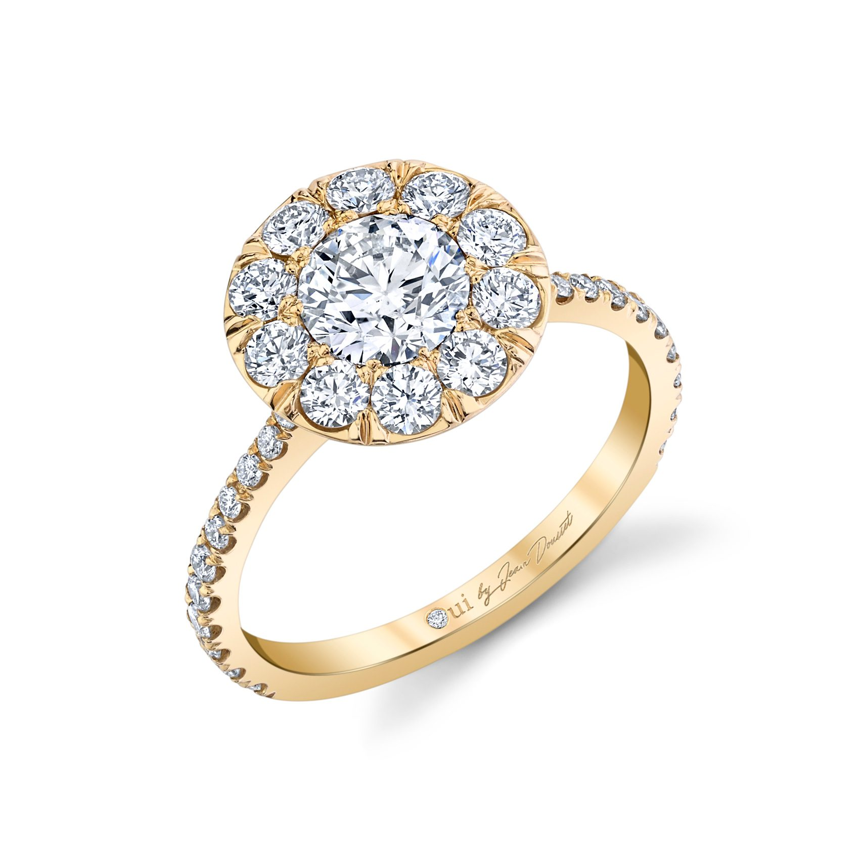 Eloise Round Brilliant Seamless Solitaire® Engagement Ring with diamond pavé in 18k Yellow Gold Profile View by Oui by Jean Dousset