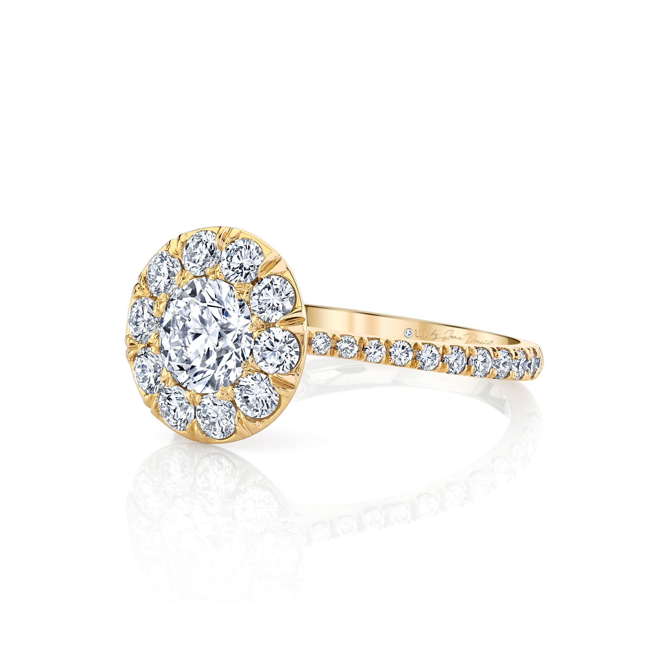 Eloise Round Brilliant Seamless Solitaire® Engagement Ring with diamond pavé in 18k Yellow Gold Side View by Oui by Jean Dousset