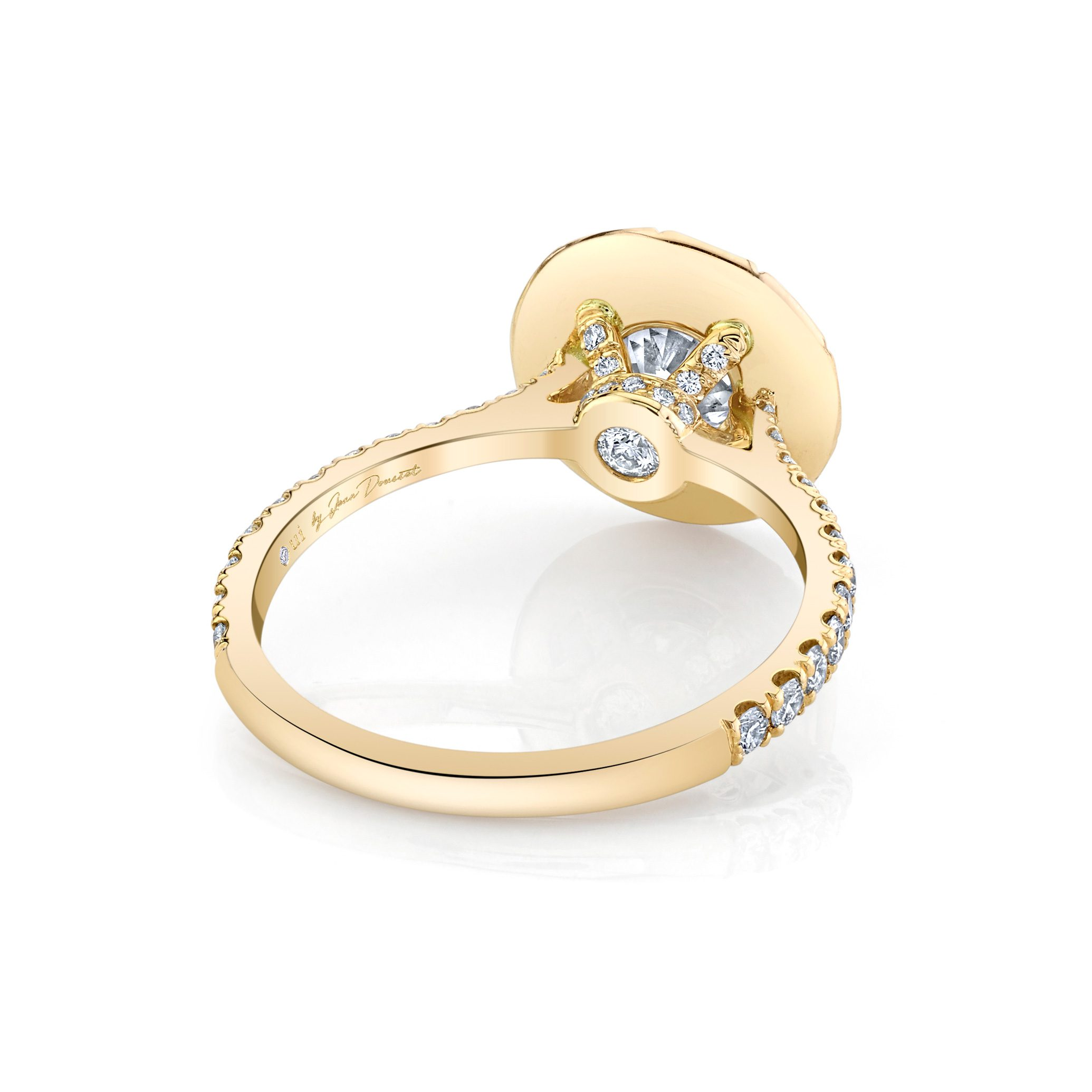 Eloise Round Brilliant Seamless Solitaire® Engagement Ring with diamond pavé in 18k Yellow Gold Back View by Oui by Jean Dousset