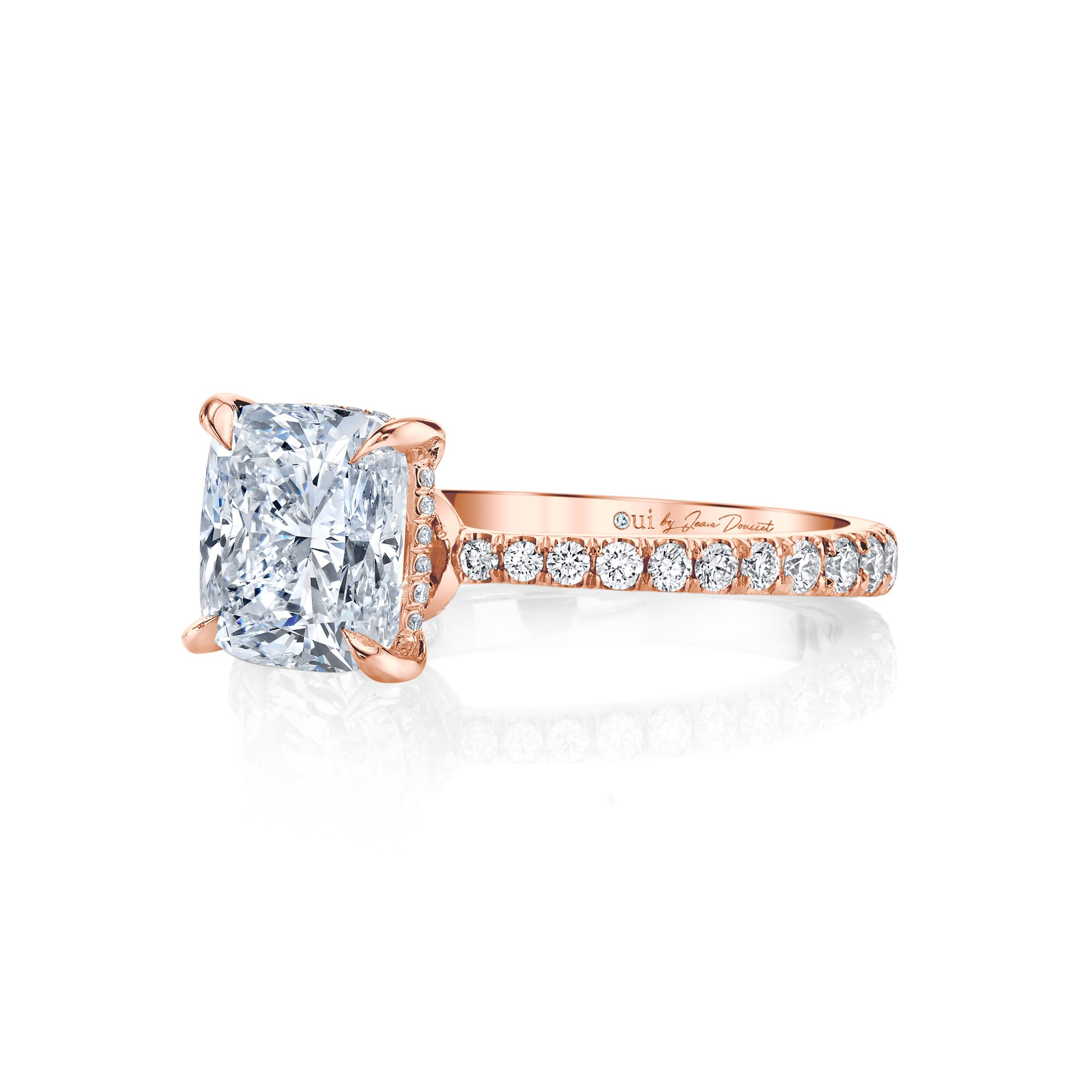 Eloise Cushion Solitaire Engagement Ring with a diamond pavé band in 18k Rose Gold Side View by Oui by Jean Dousset