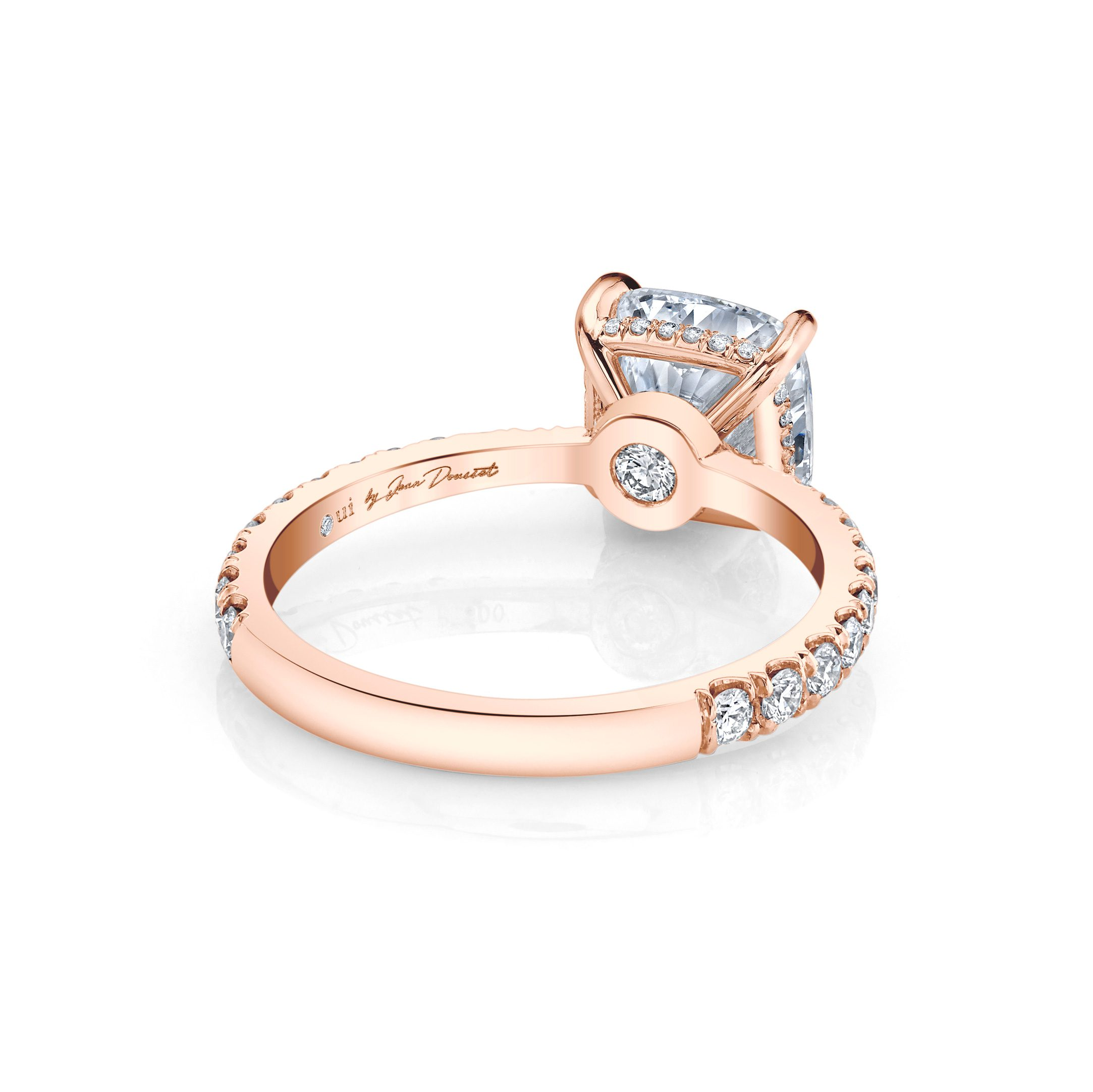 Eloise Cushion Solitaire Engagement Ring with a diamond pavé band in 18k Rose Gold Back View by Oui by Jean Dousset