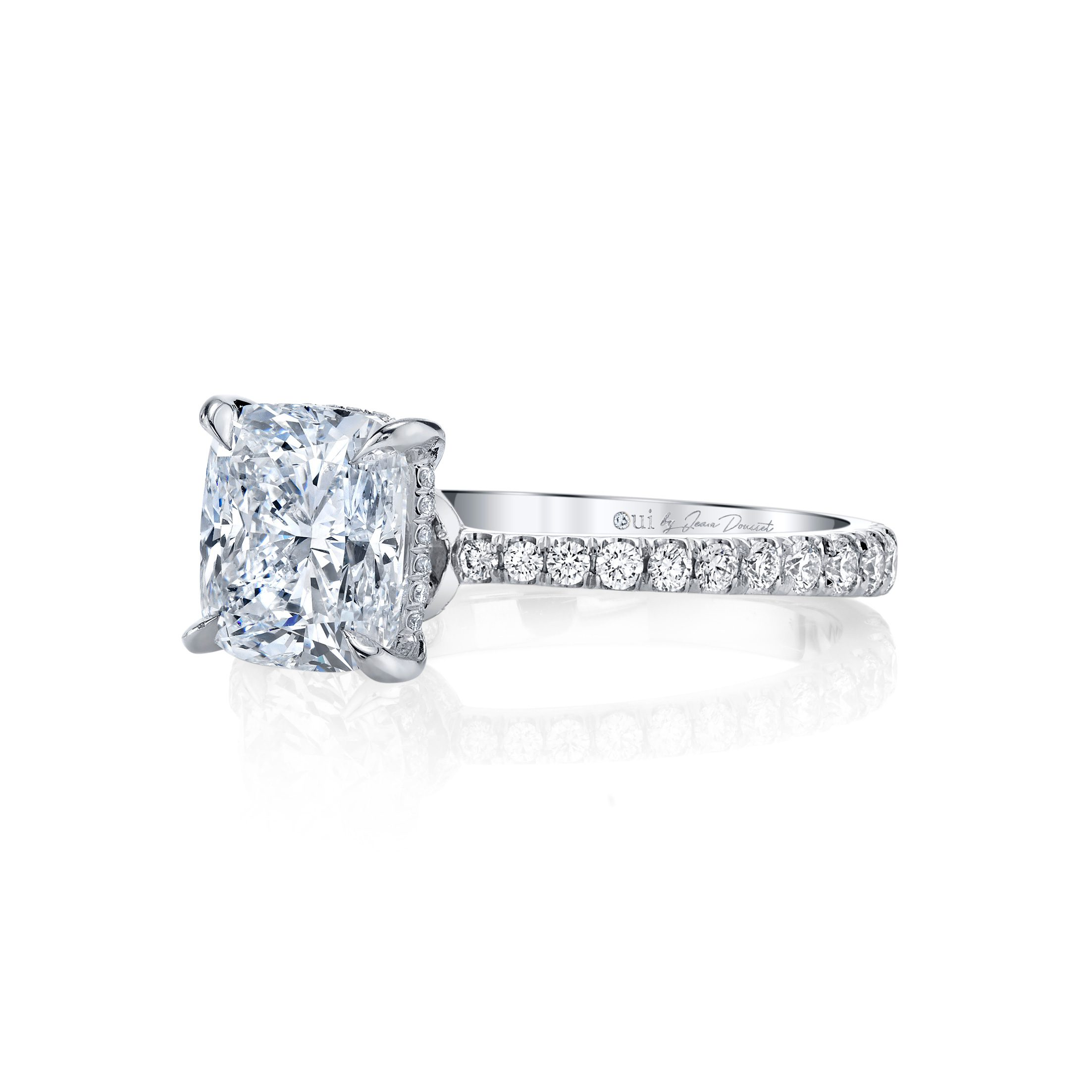 Eloise Cushion Solitaire Engagement Ring with a diamond pavé band in 18k White Gold Side View by Oui by Jean Dousset