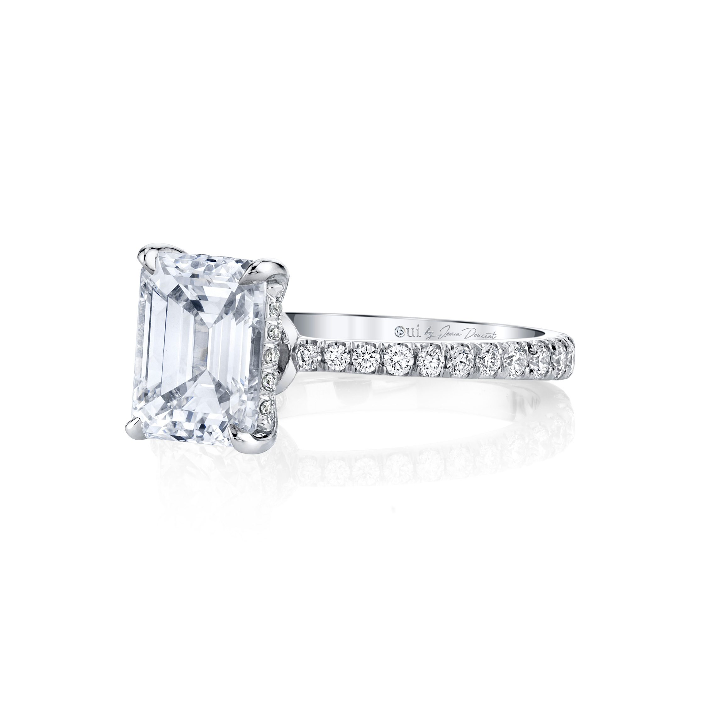 Eloise Emerald Solitaire Engagement Ring with a diamond pavé band in 18k White Gold Side View by Oui by Jean Dousset