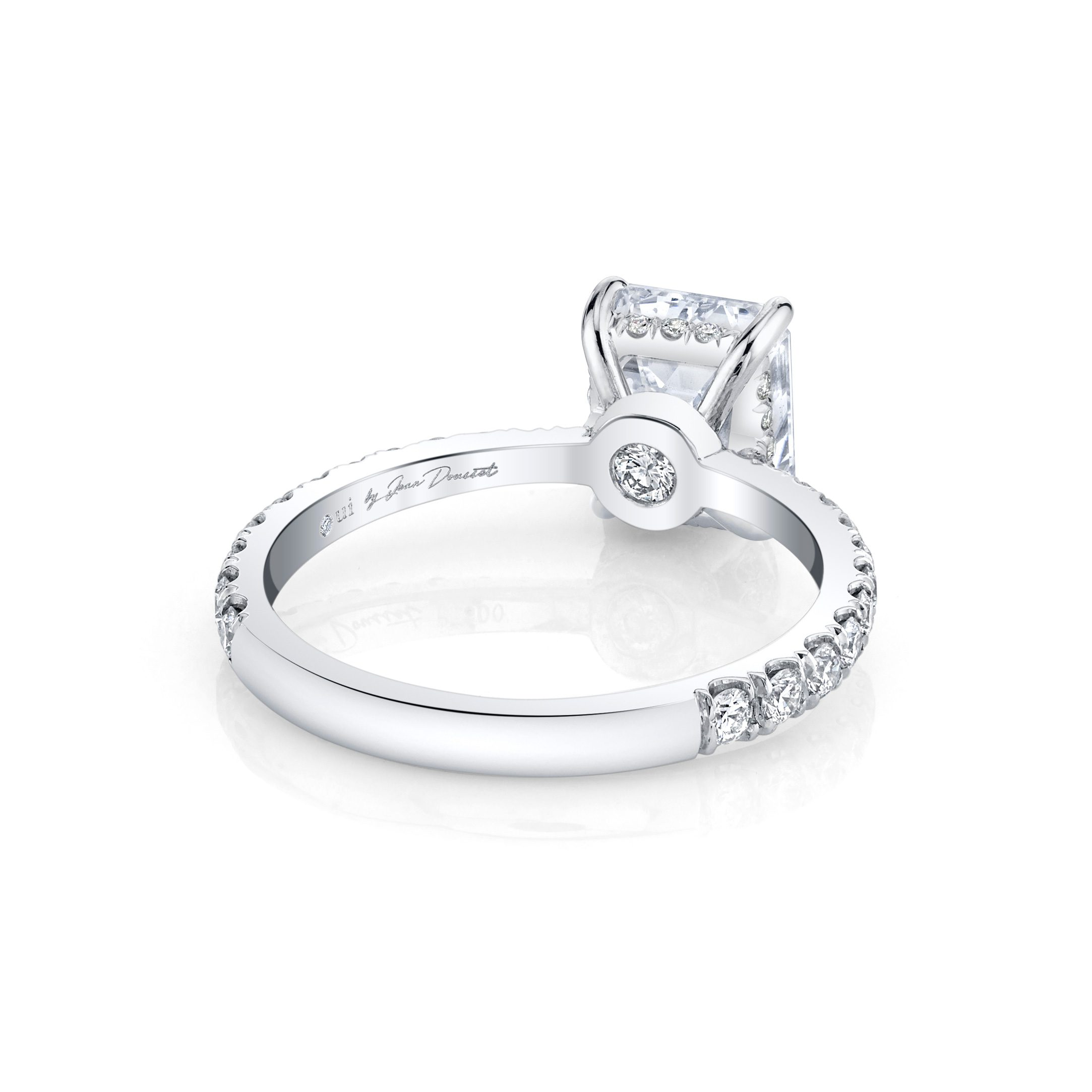 Eloise Emerald Solitaire Engagement Ring with a diamond pavé band in 18k White Gold Back View by Oui by Jean Dousset
