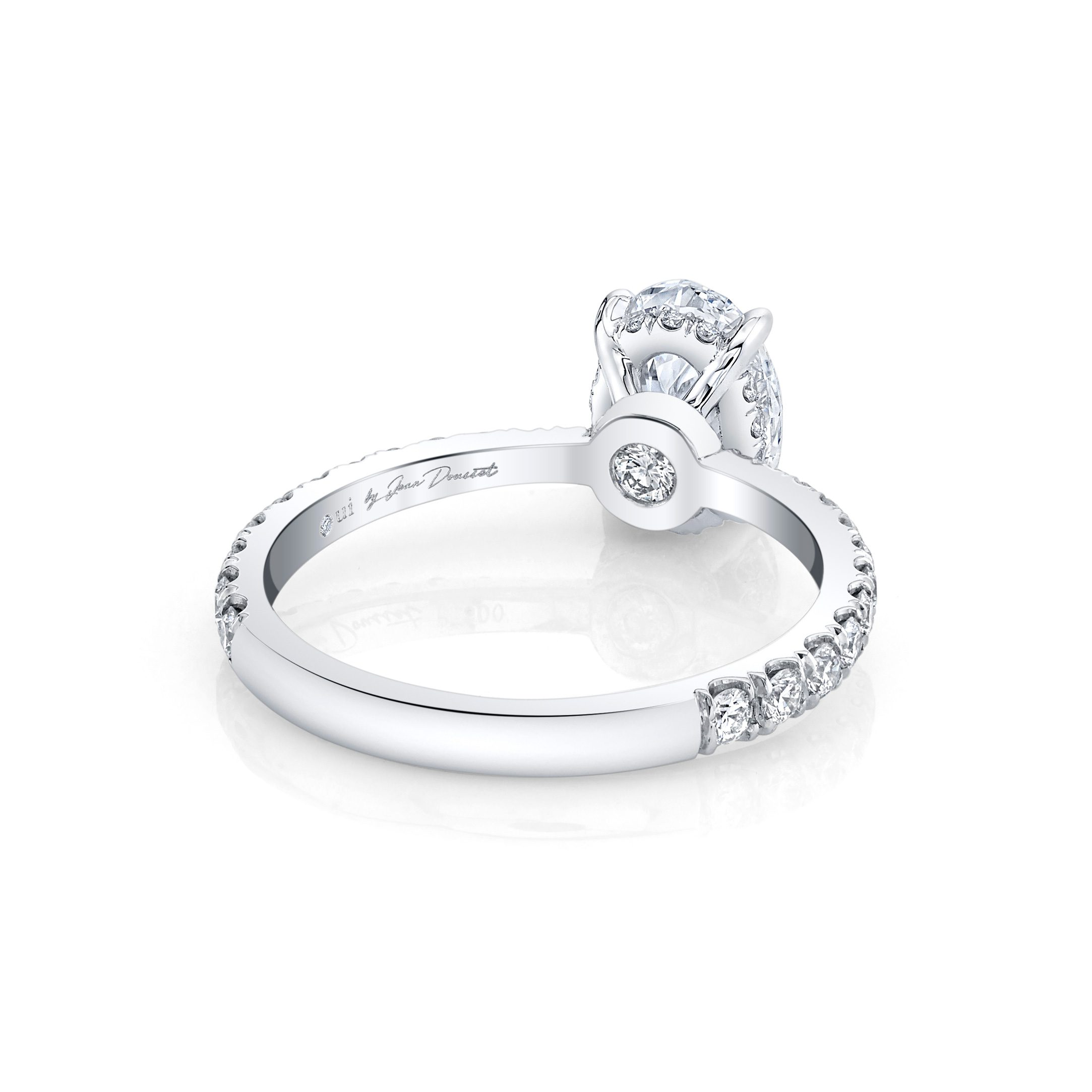 Eloise Oval Solitaire Engagement Ring with a diamond pavé band in 18k White Gold Back View by Oui by Jean Dousset