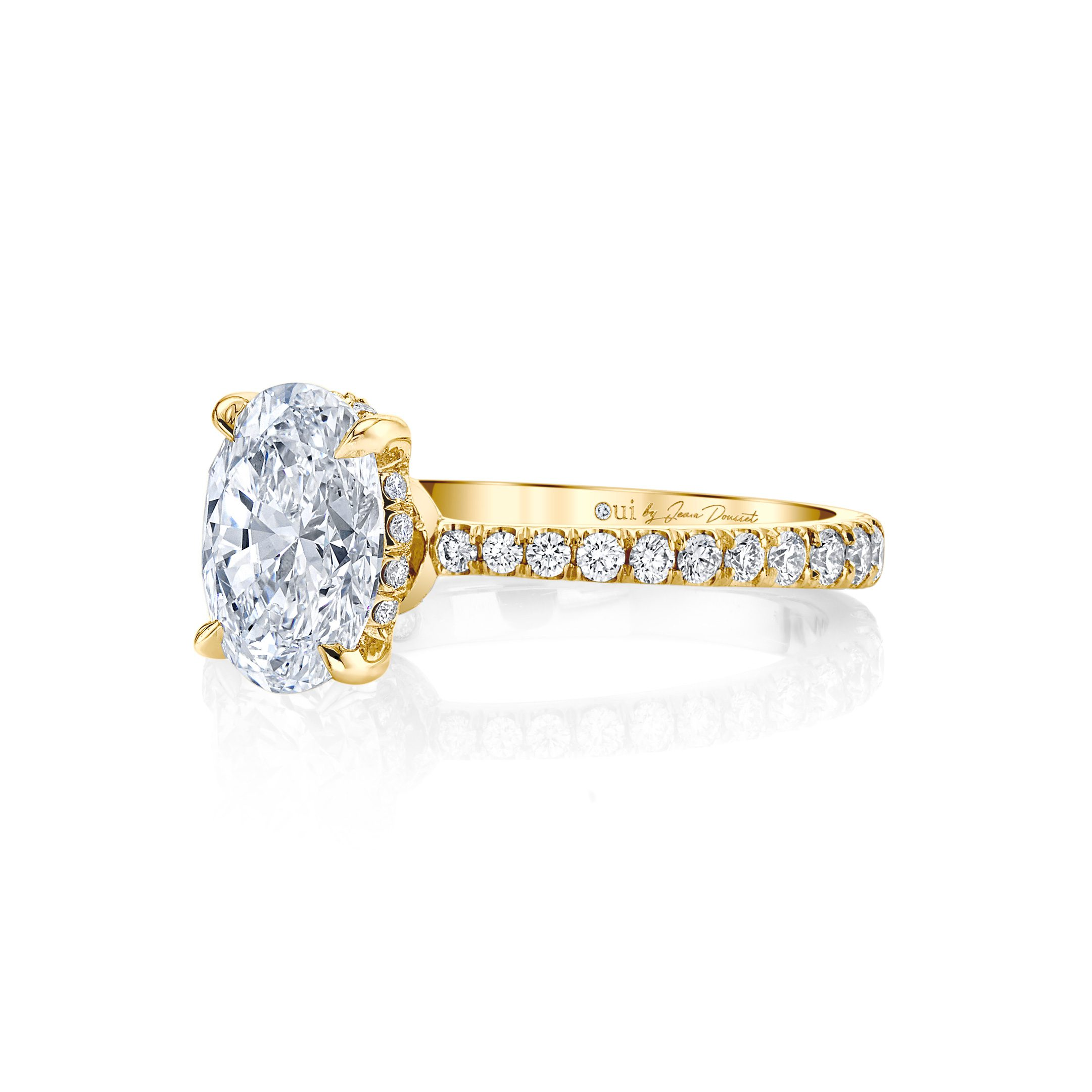 Eloise Oval Solitaire Engagement Ring with a diamond pavé band in 18k Yellow Gold Side View by Oui by Jean Dousset