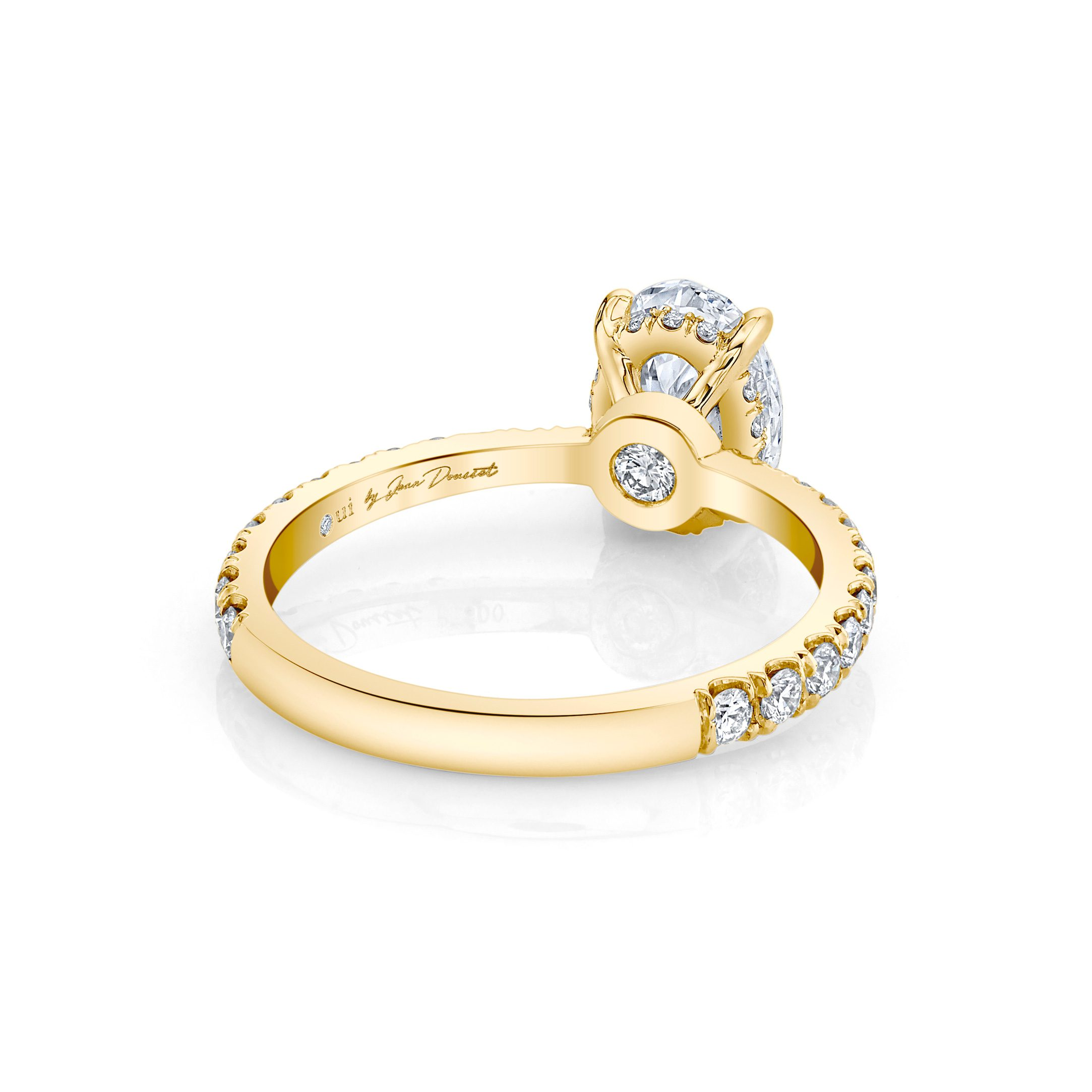Eloise Oval Solitaire Engagement Ring with a diamond pavé band in 18k Yellow Gold Back View by Oui by Jean Dousset