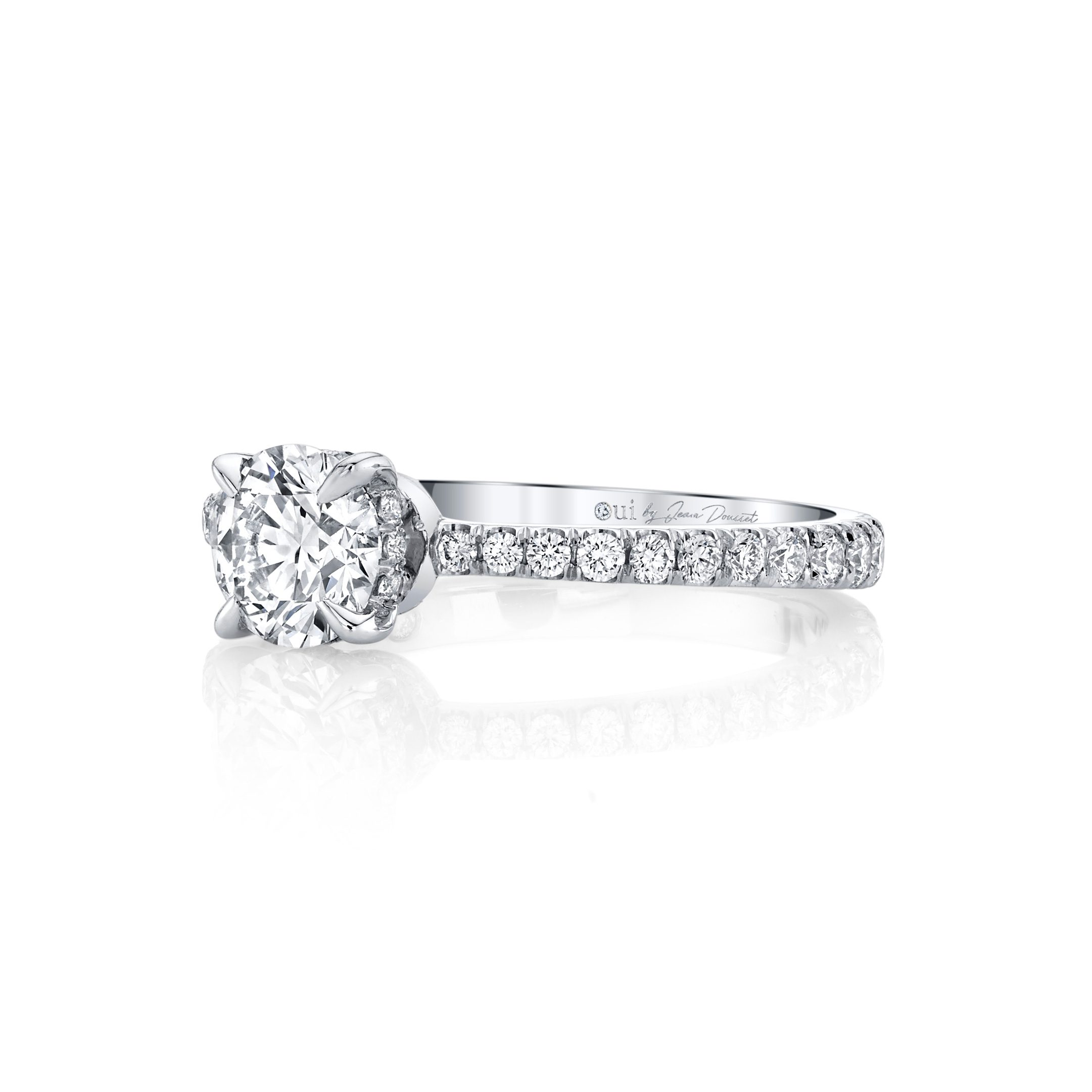 Eloise Round Brilliant Solitaire Engagement Ring with a diamond pavé band in 18k White Gold Side View by Oui by Jean Dousset