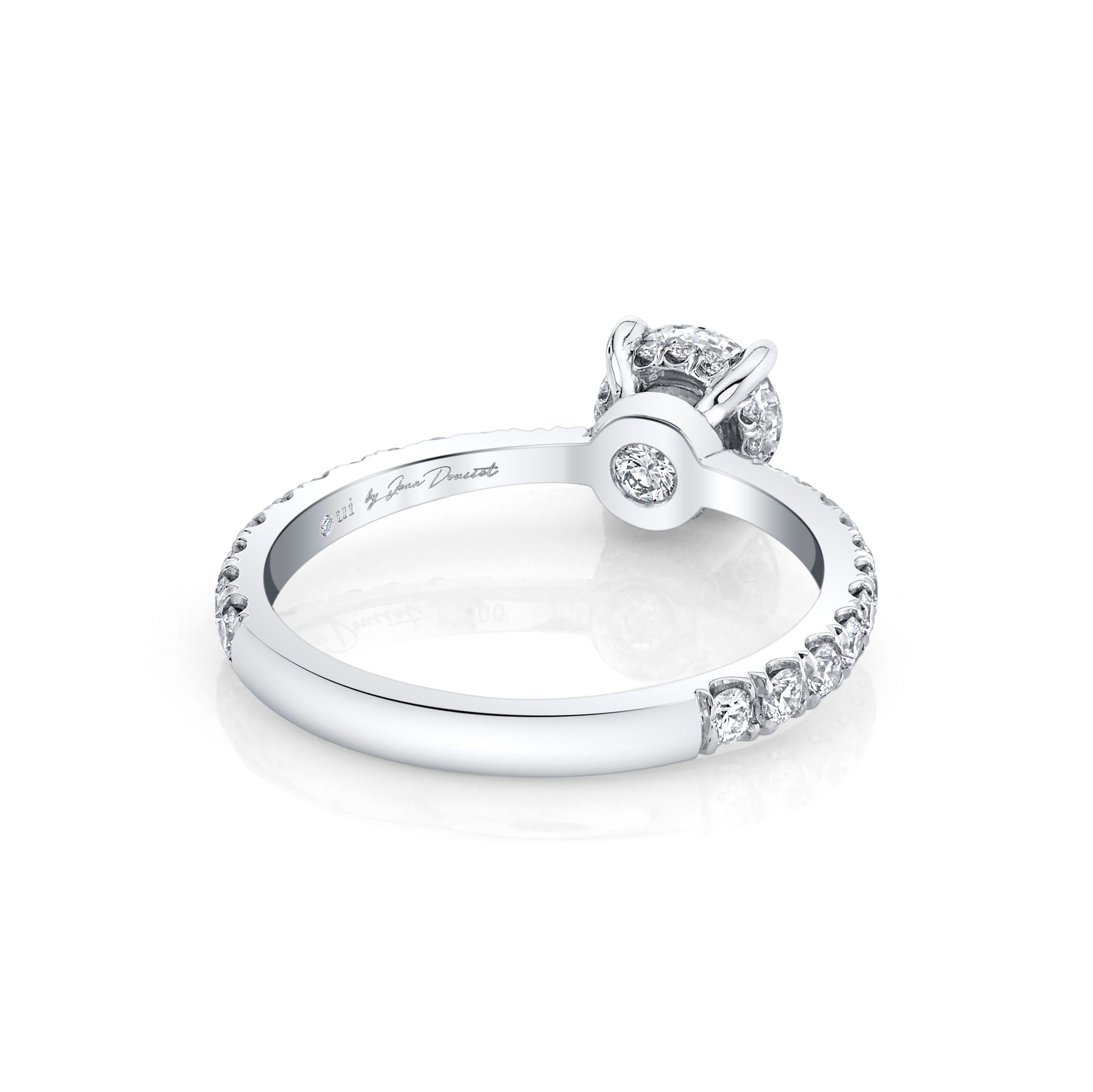 Eloise Round Brilliant Solitaire Engagement Ring with a diamond pavé band in 18k White Gold Back View by Oui by Jean Dousset