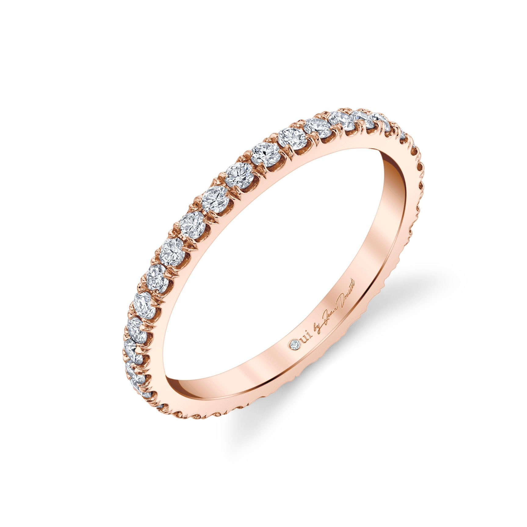 Eloise Women's Wedding Band 18k Rose Gold Standing View by Oui by Jean Dousset