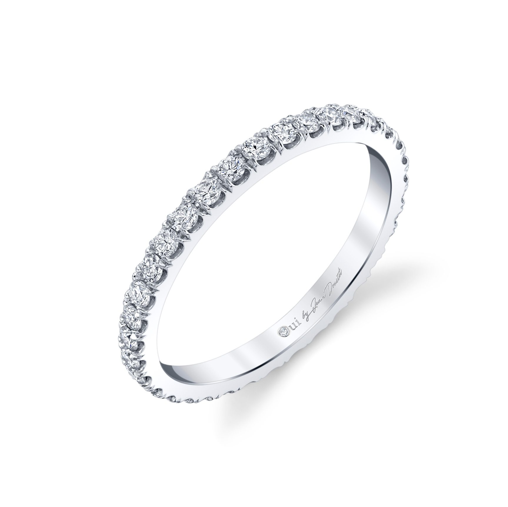 Eloise Women's Wedding Band 18k White Gold Standing View by Oui by Jean Dousset