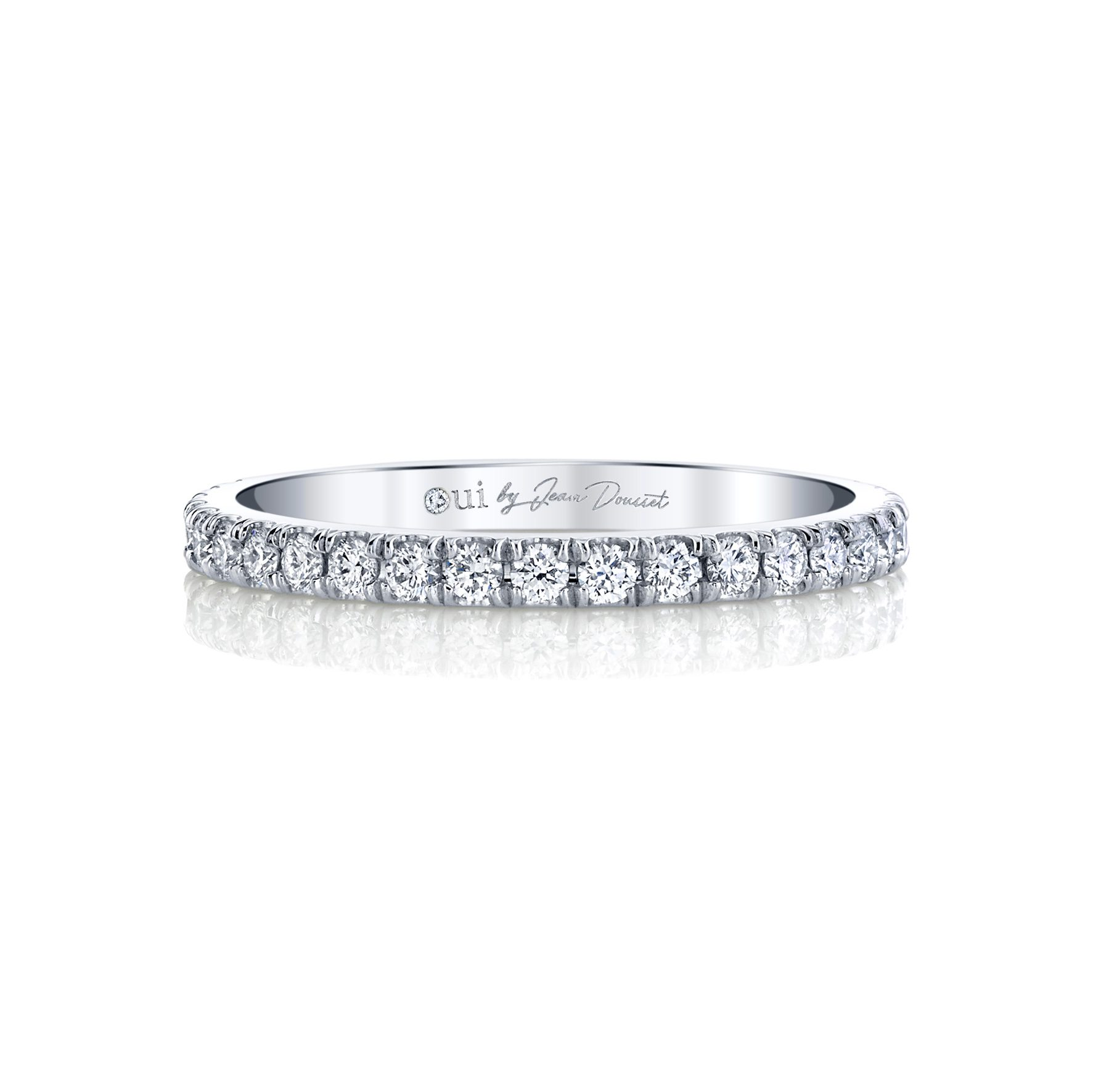 Eloise Women's Wedding Band 18k White Gold Front View by Oui by Jean Dousset