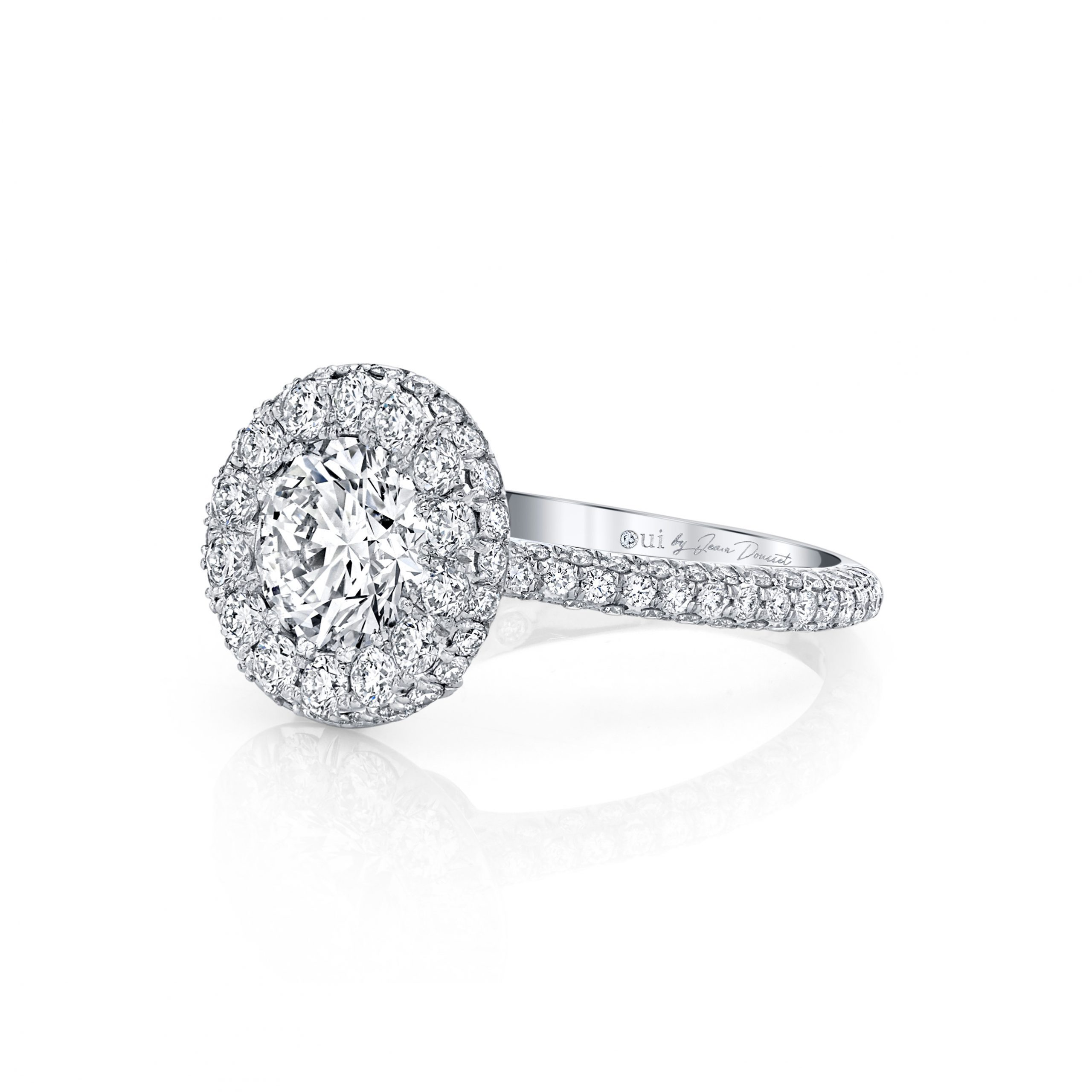 Jacqueline Round Brilliant Seamless Halo® Engagement Ring with diamond pavé in 18k White Gold Side View by Oui by Jean Dousset