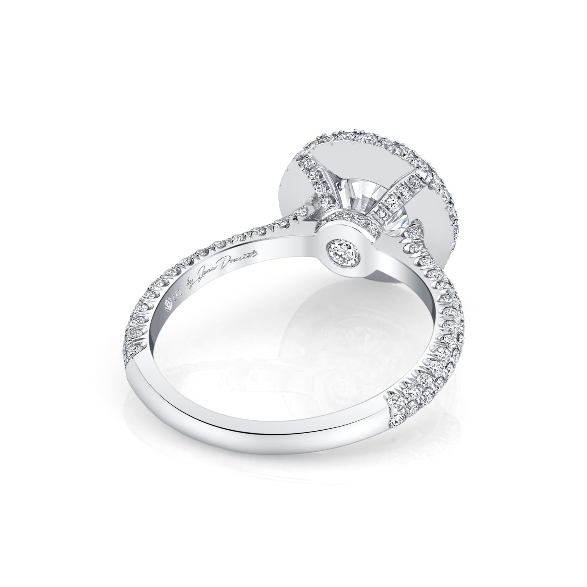 Jacqueline Round Brilliant Seamless Halo® Engagement Ring with diamond pavé in 18k White Gold Back View by Oui by Jean Dousset