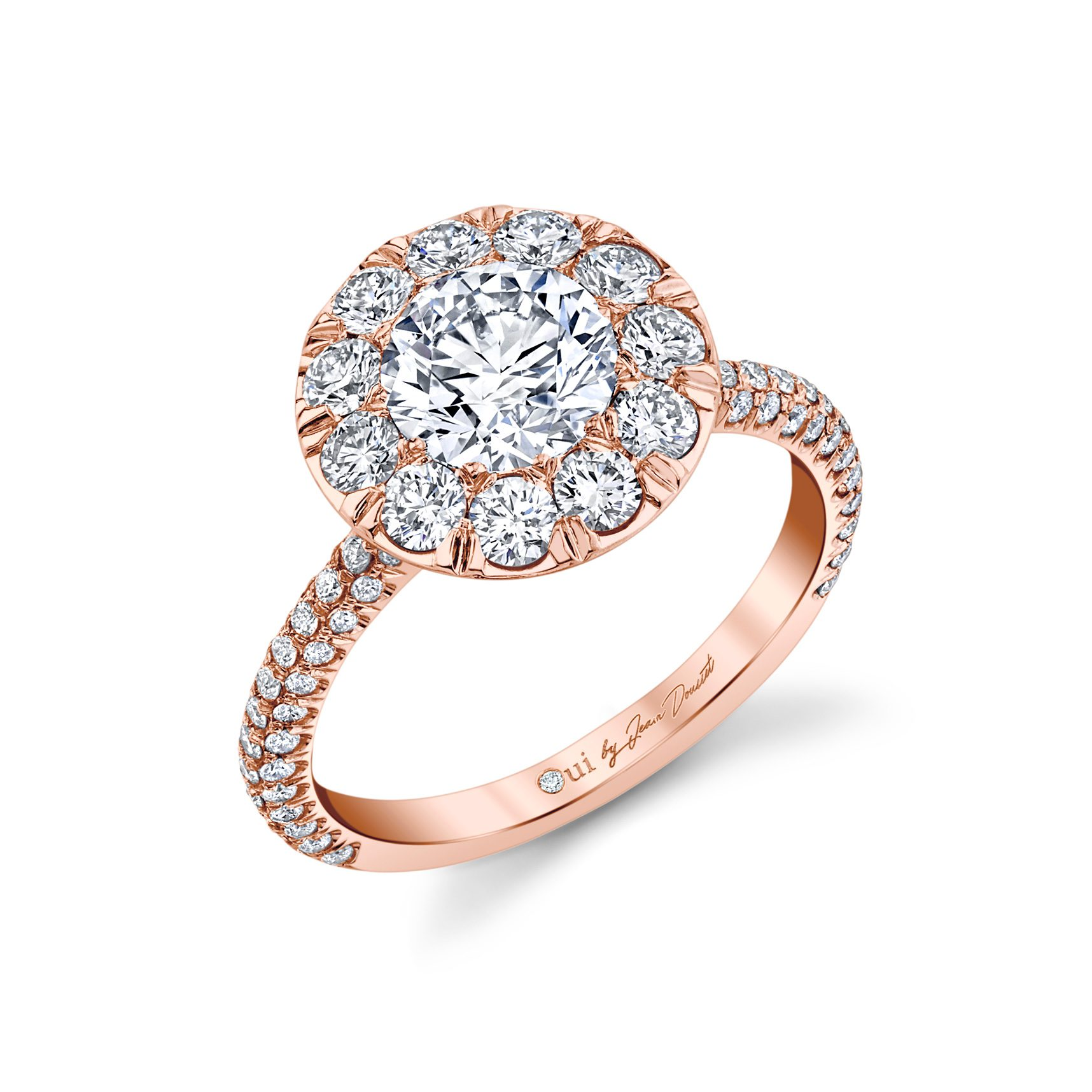 Jacqueline Round Brilliant Seamless Solitaire® Engagement Ring 18k Rose Gold Profile View by Oui by Jean Dousset