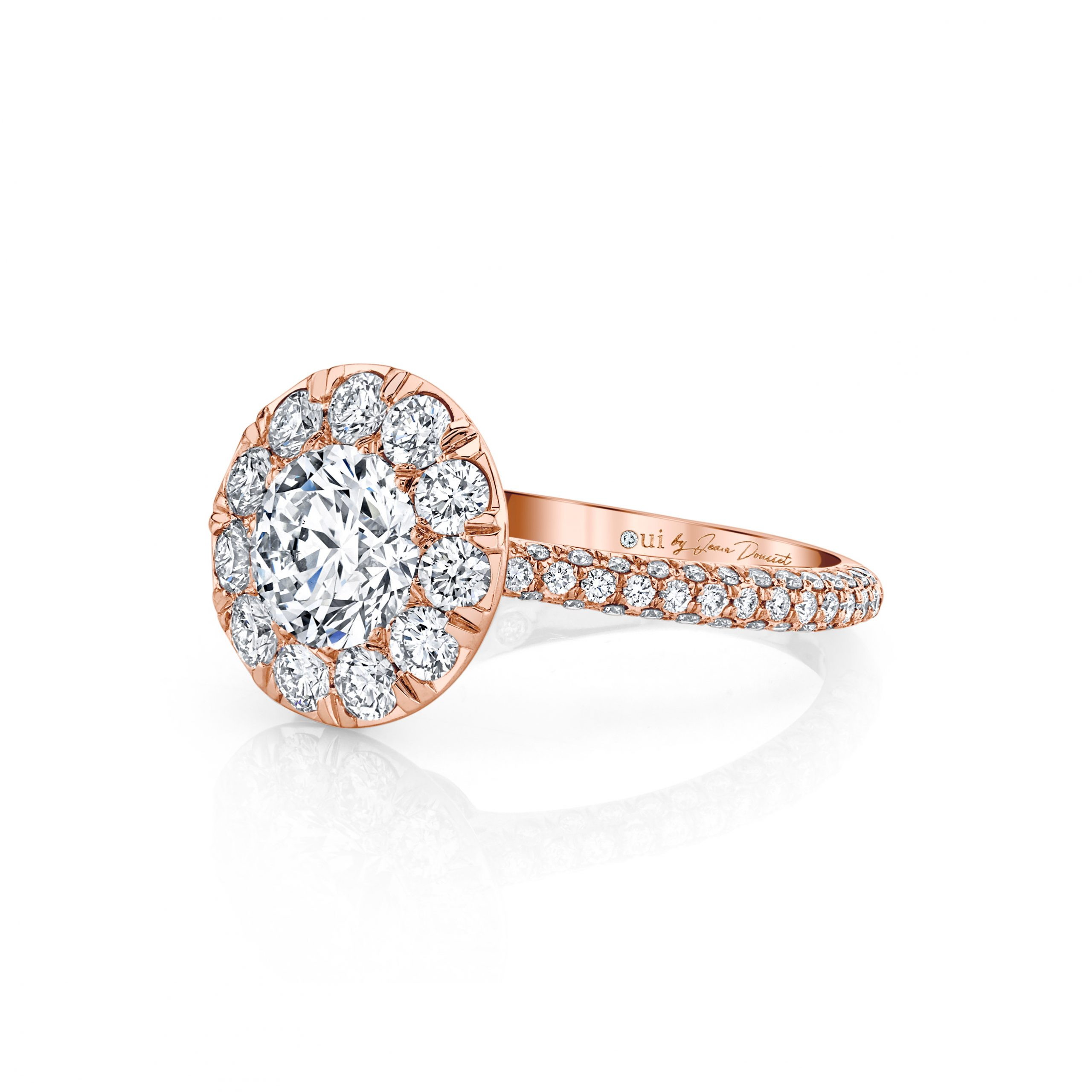 Jacqueline Round Brilliant Seamless Solitaire® Engagement Ring 18k Rose Gold Side View by Oui by Jean Dousset