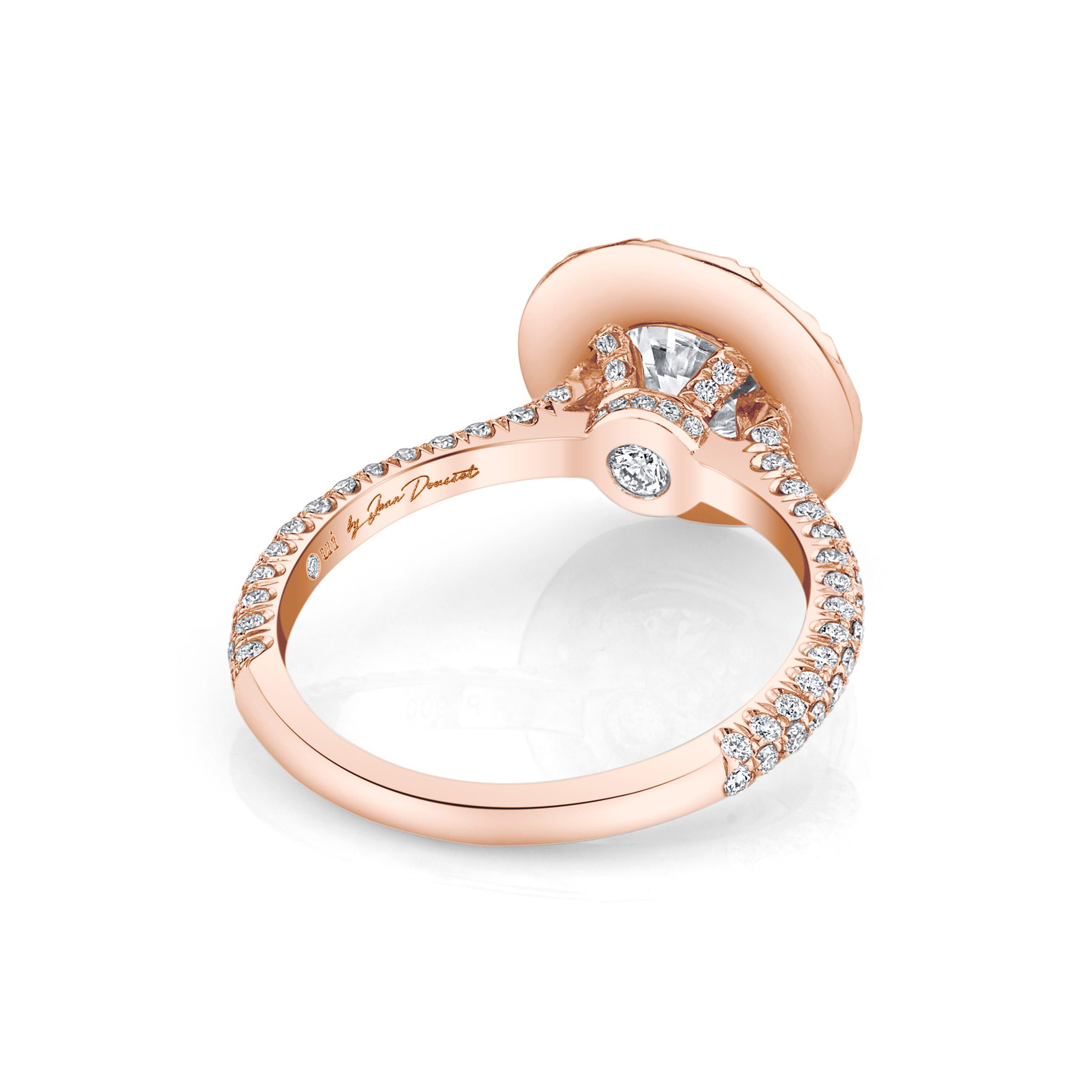 Jacqueline Round Brilliant Seamless Solitaire® Engagement Ring 18k Rose Gold Back View by Oui by Jean Dousset