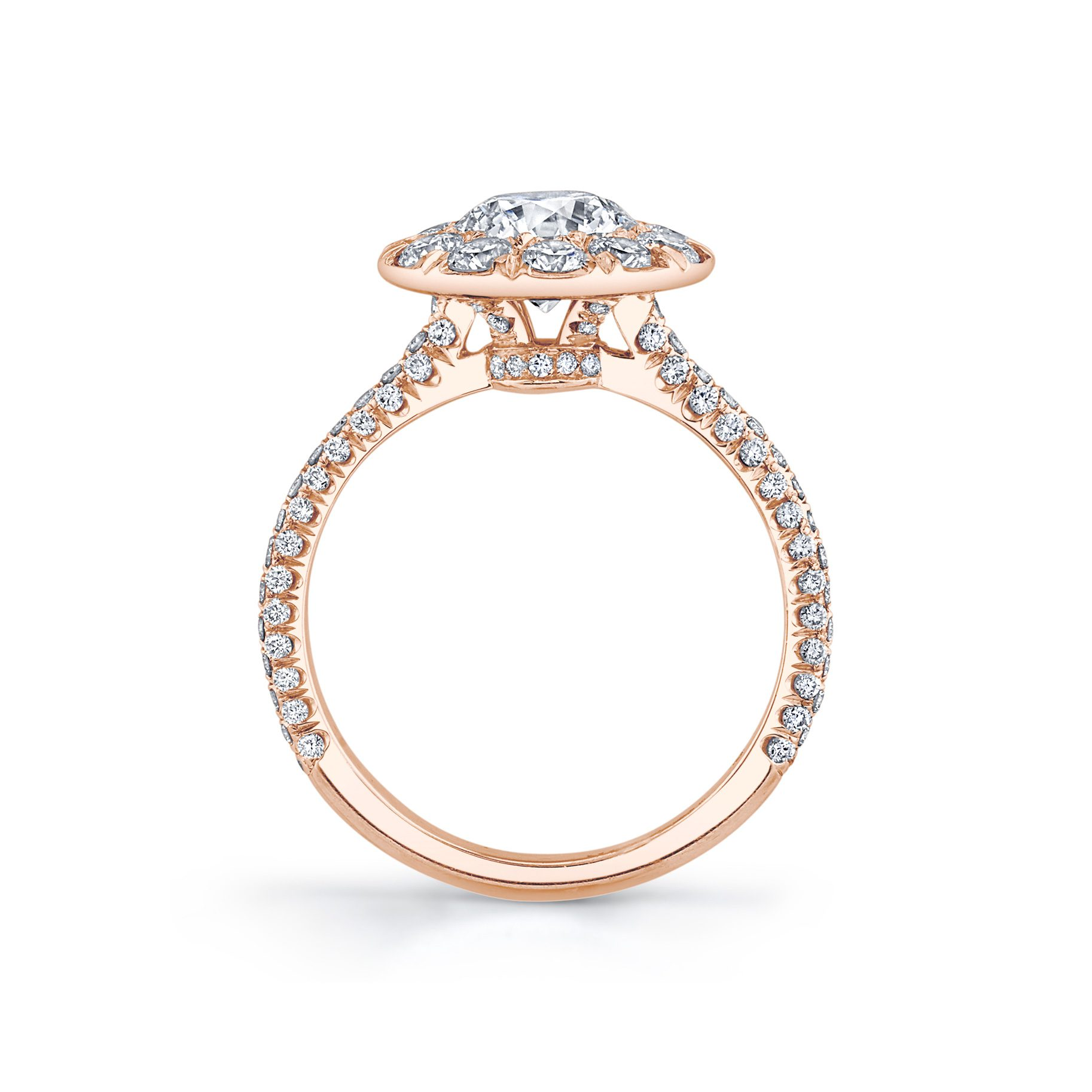 Jacqueline Round Brilliant Seamless Solitaire® Engagement Ring 18k Rose Gold Standing View by Oui by Jean Dousset