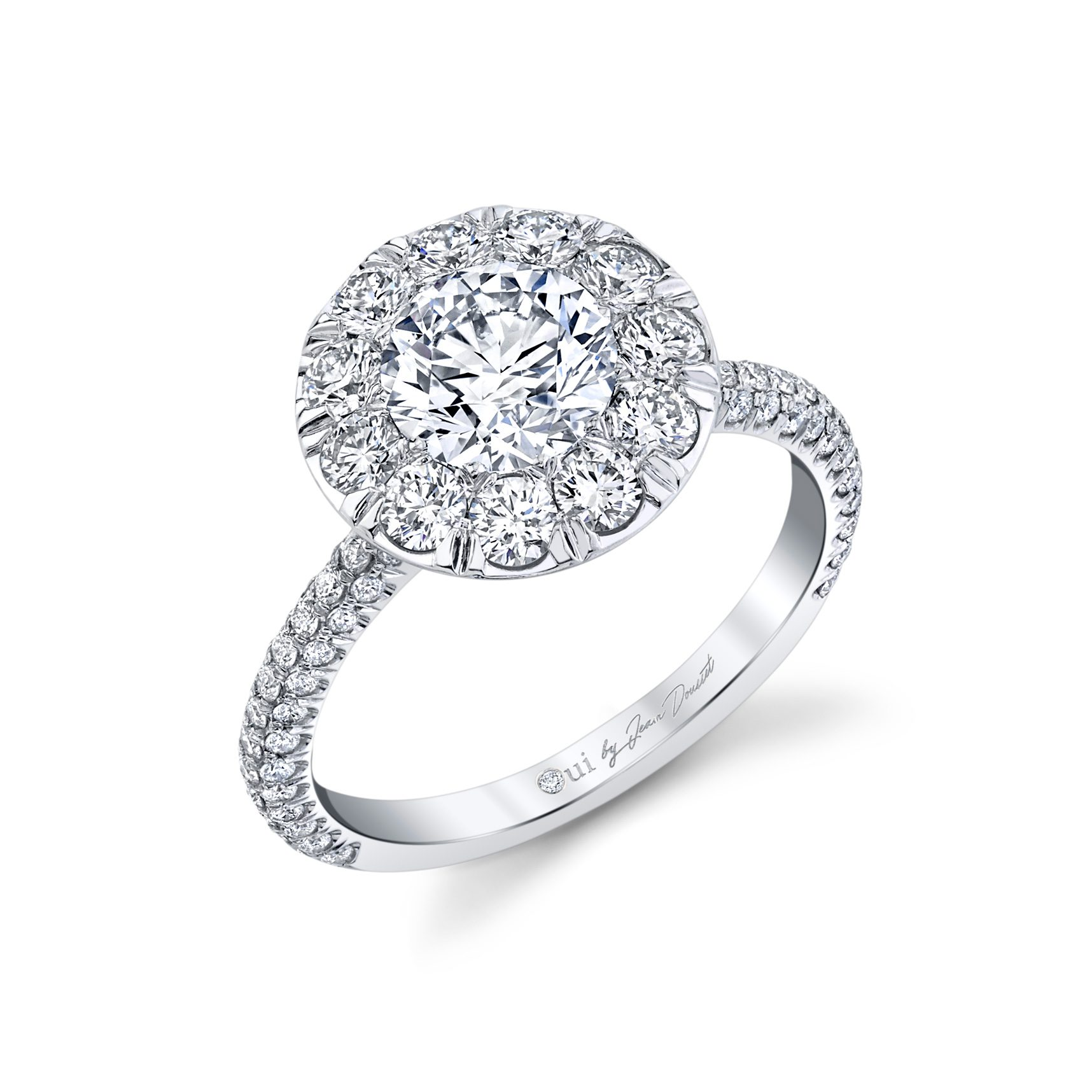 Jacqueline Round Brilliant Seamless Solitaire® Engagement Ring 18k White Gold Profile View by Oui by Jean Dousset