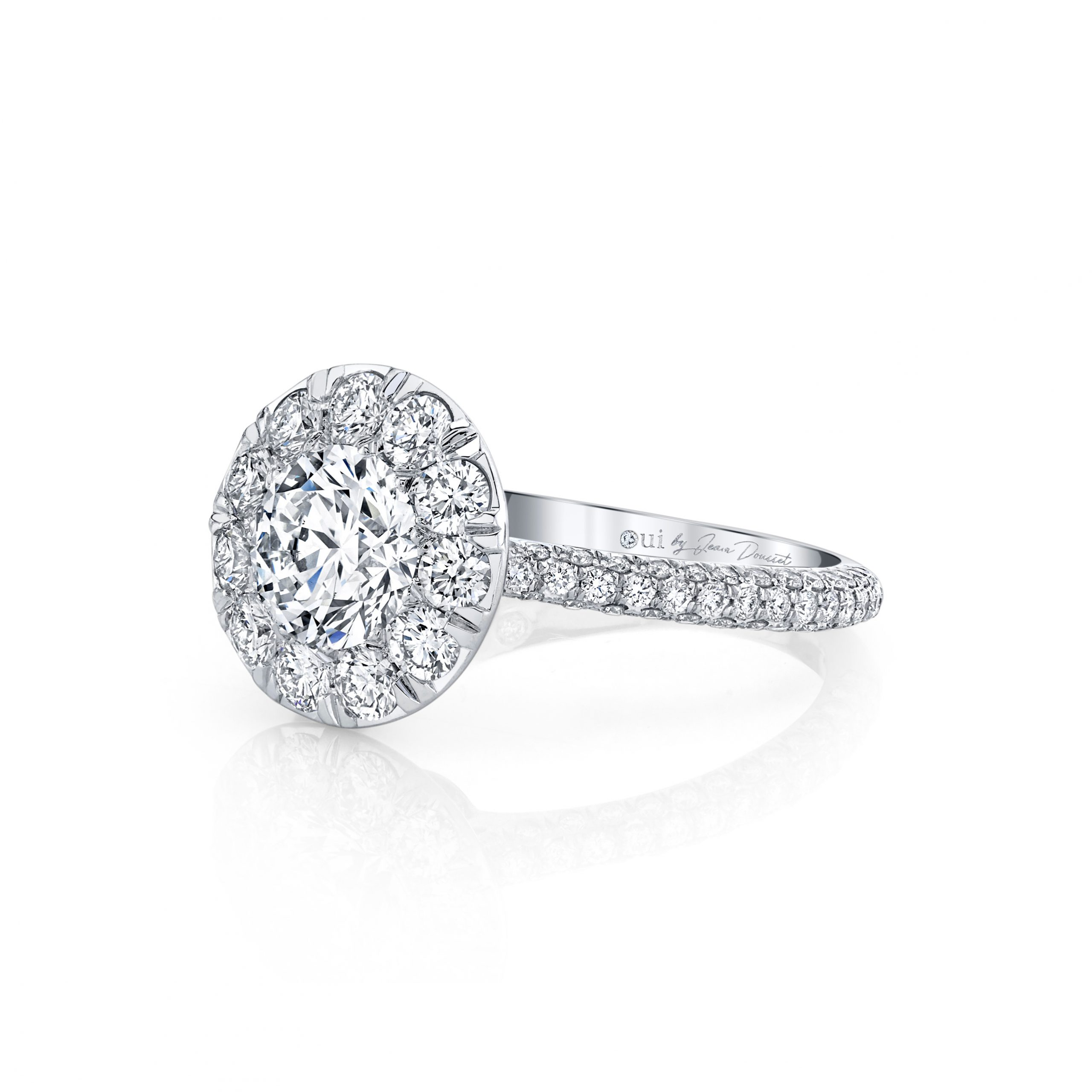 Jacqueline Round Brilliant Seamless Solitaire® Engagement Ring 18k White Gold Side View by Oui by Jean Dousset