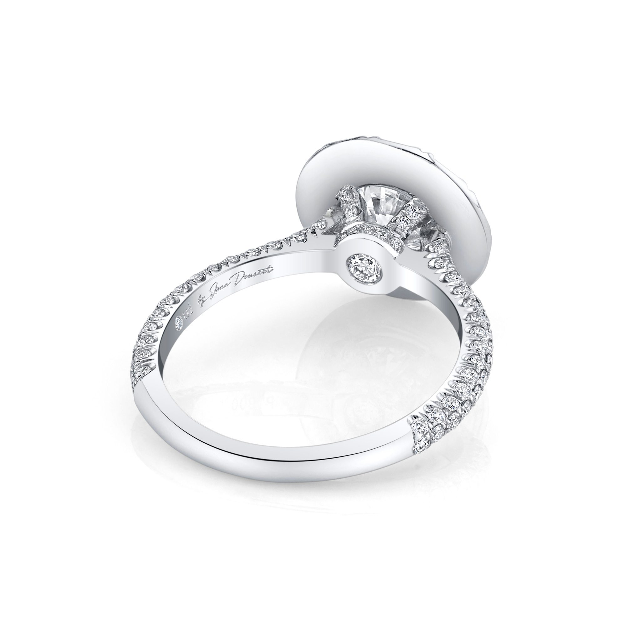 Jacqueline Round Brilliant Seamless Solitaire® Engagement Ring 18k White Gold Back View by Oui by Jean Dousset