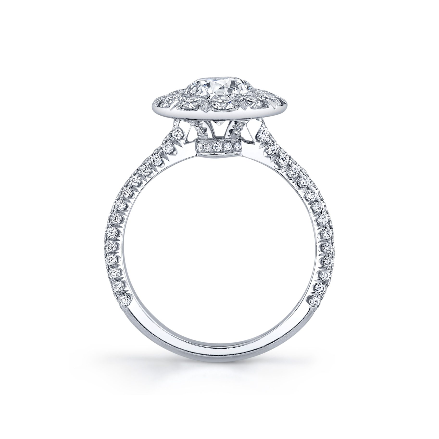 Jacqueline Round Brilliant Seamless Solitaire® Engagement Ring 18k White Gold Standing View by Oui by Jean Dousset