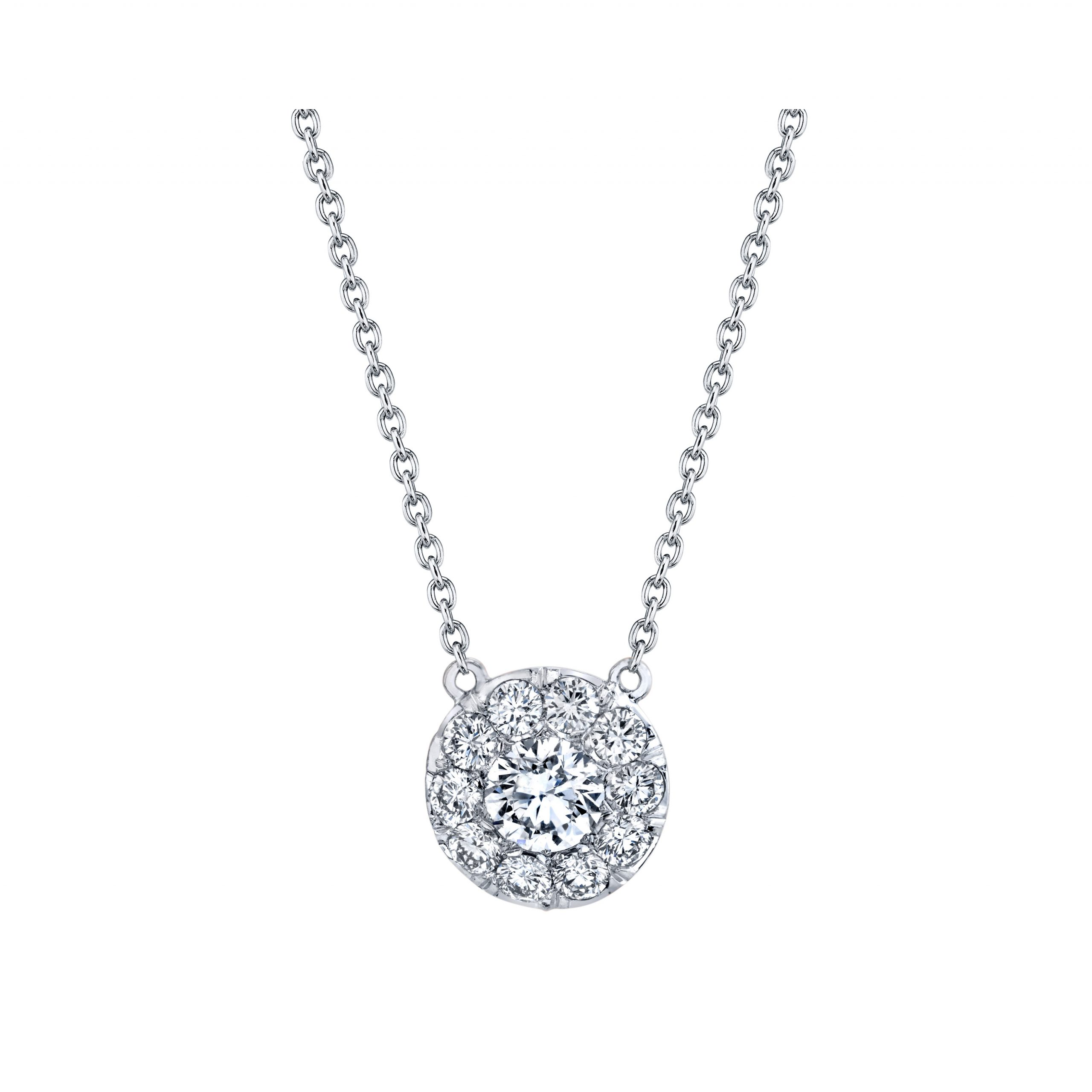 Lucile Round Brilliant Seamless Solitaire® Diamond Pendant 18k White Gold Front View by Oui by Jean Dousset