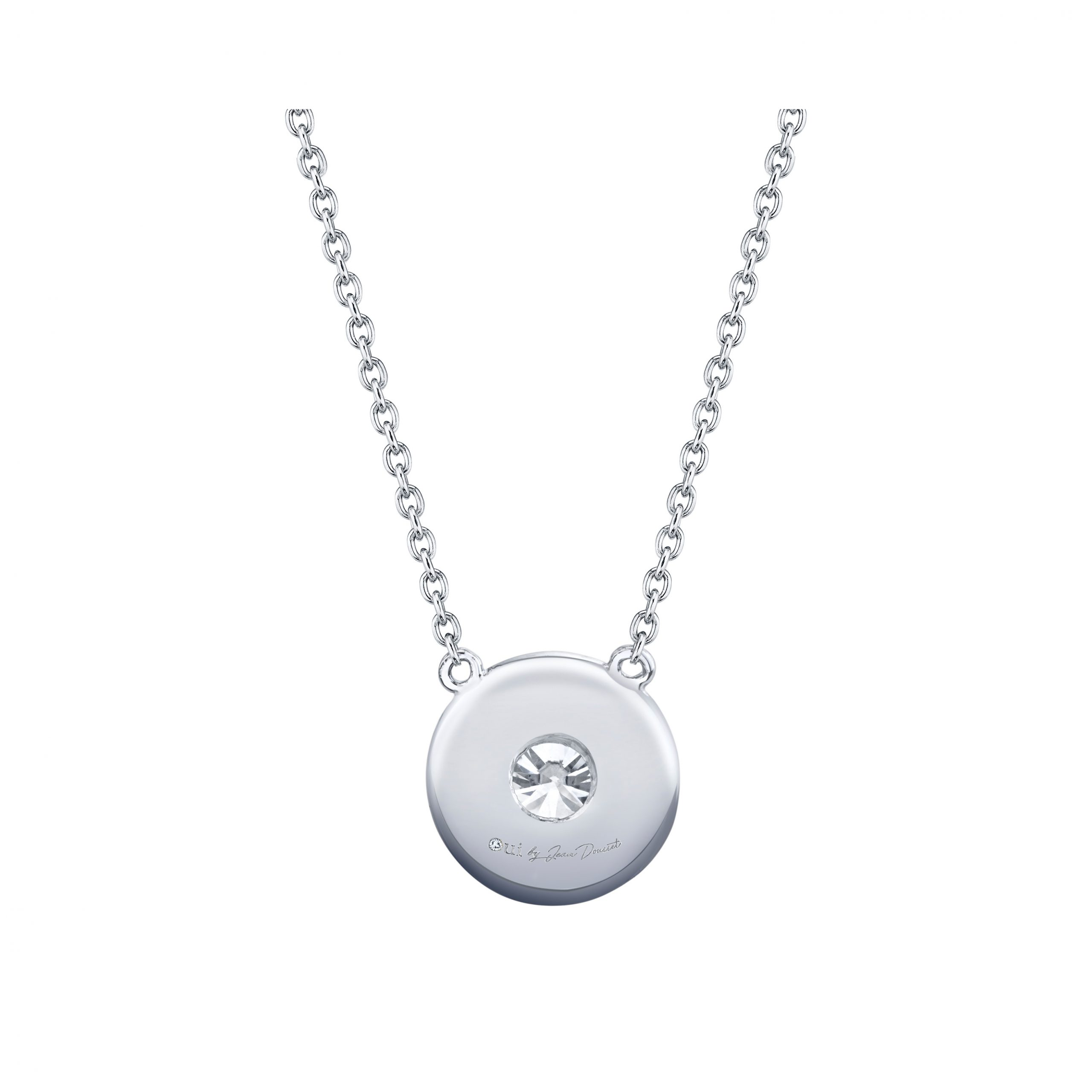 Lucile Round Brilliant Seamless Solitaire® Diamond Pendant 18k White Gold Back View by Oui by Jean Dousset