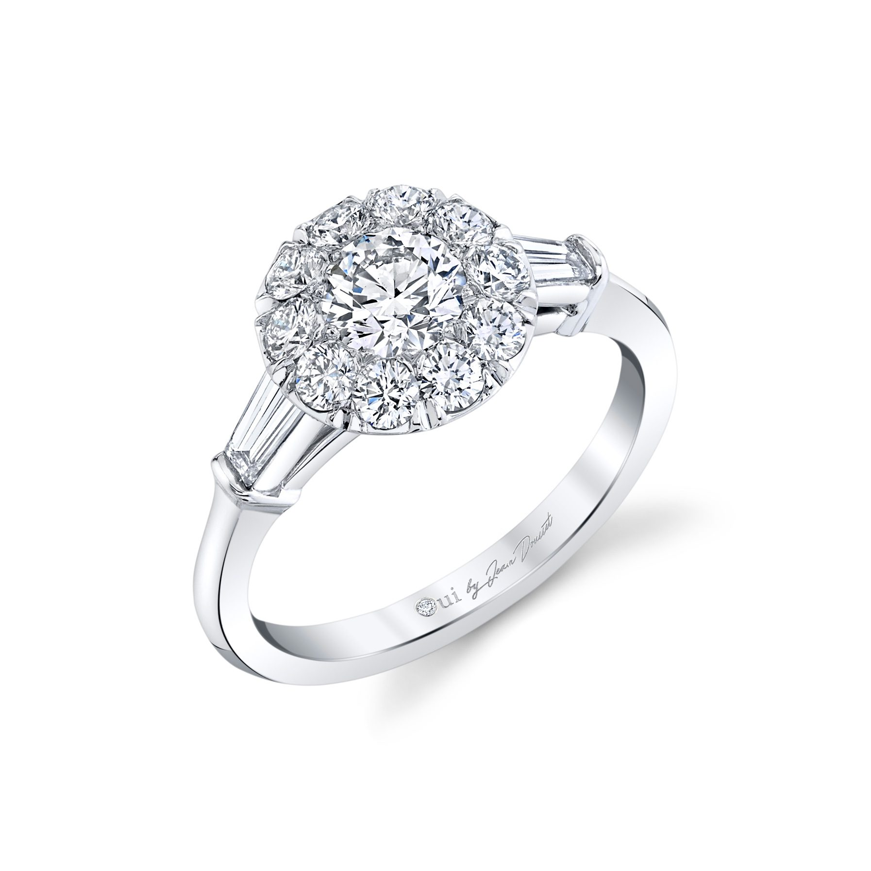 Madeline Round Brilliant Seamless Solitaire® Three Stone Engagement Ring 18k White Gold Profile View by Oui by Jean Dousset