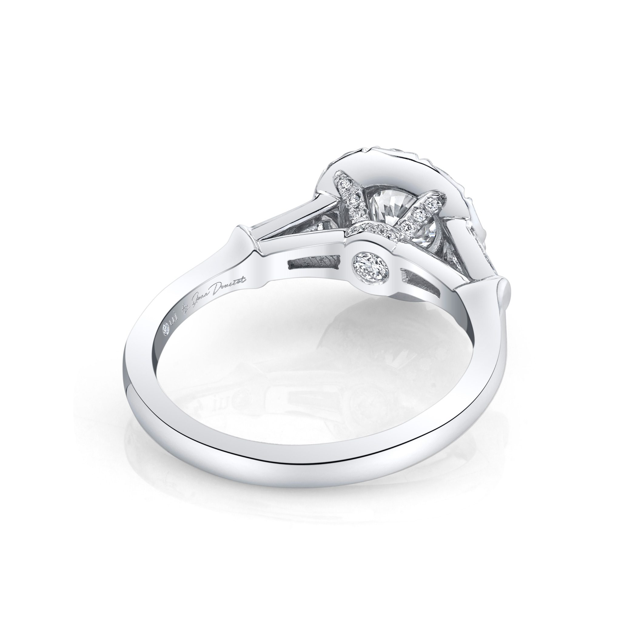 Madeline Round Brilliant Seamless Solitaire® Three Stone Engagement Ring 18k White Gold Back View by Oui by Jean Dousset