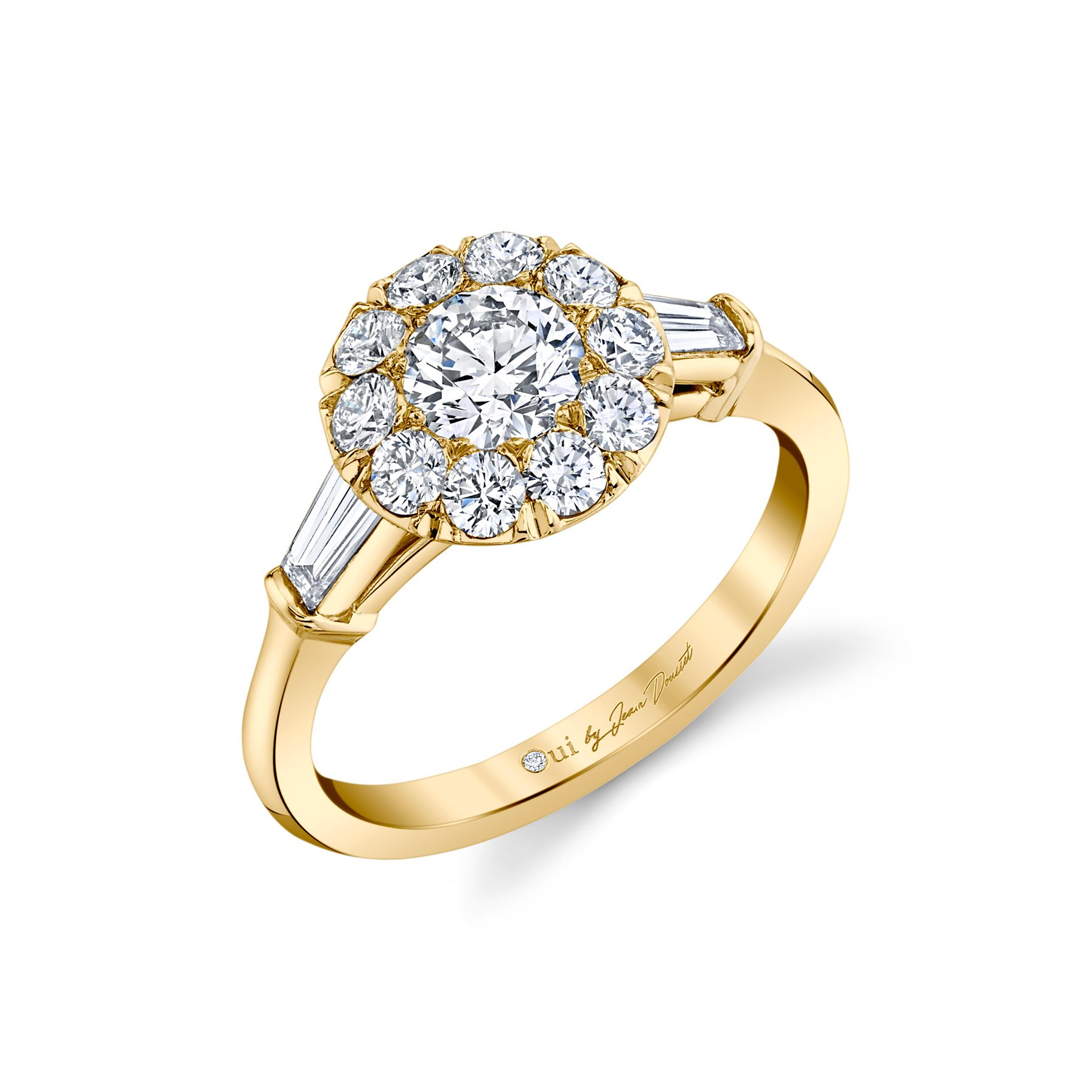 Madeline Round Brilliant Seamless Solitaire® Three Stone Engagement Ring 18k Yellow Gold Profile View by Oui by Jean Dousset