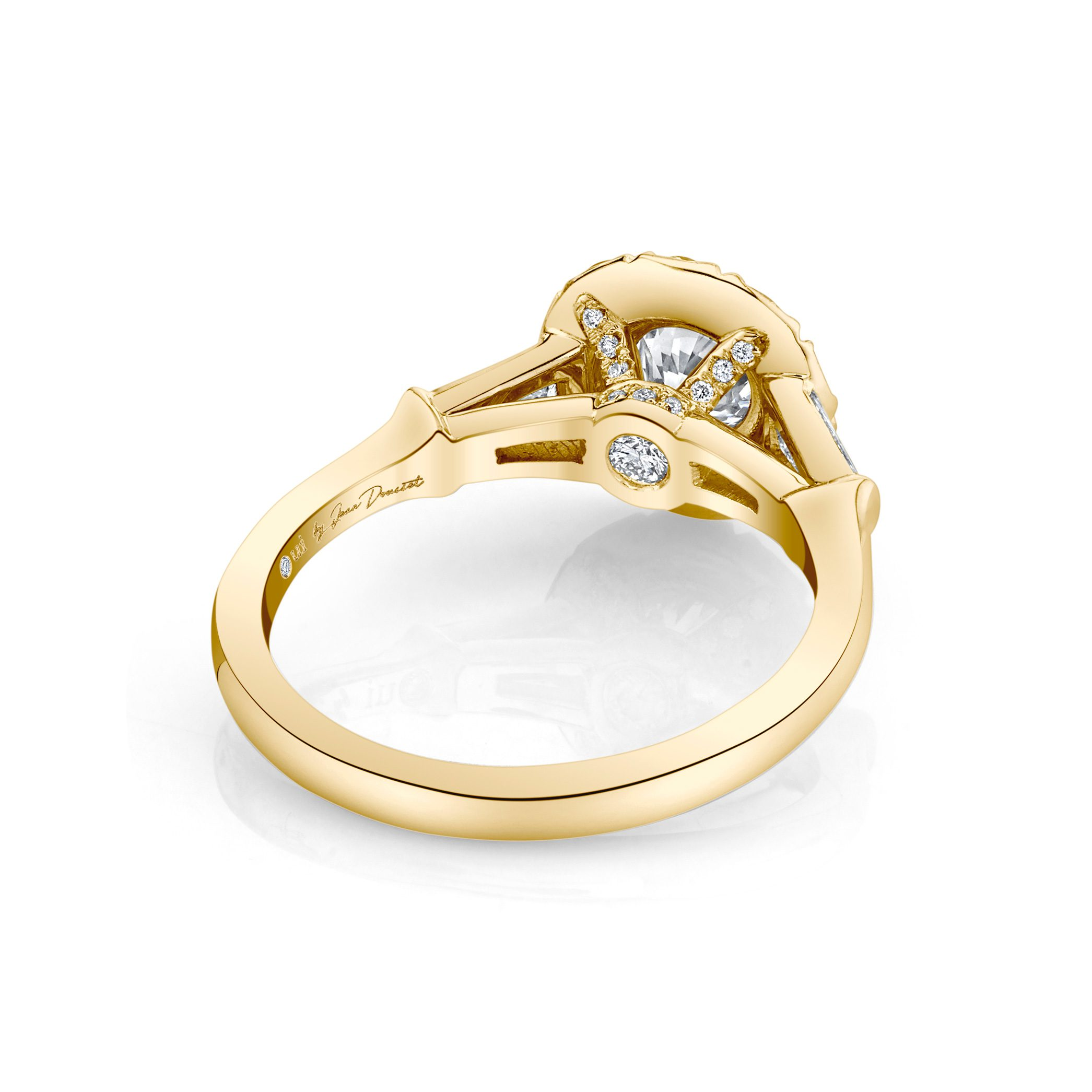 Madeline Round Brilliant Seamless Solitaire® Three Stone Engagement Ring 18k Yellow Gold Back View by Oui by Jean Dousset
