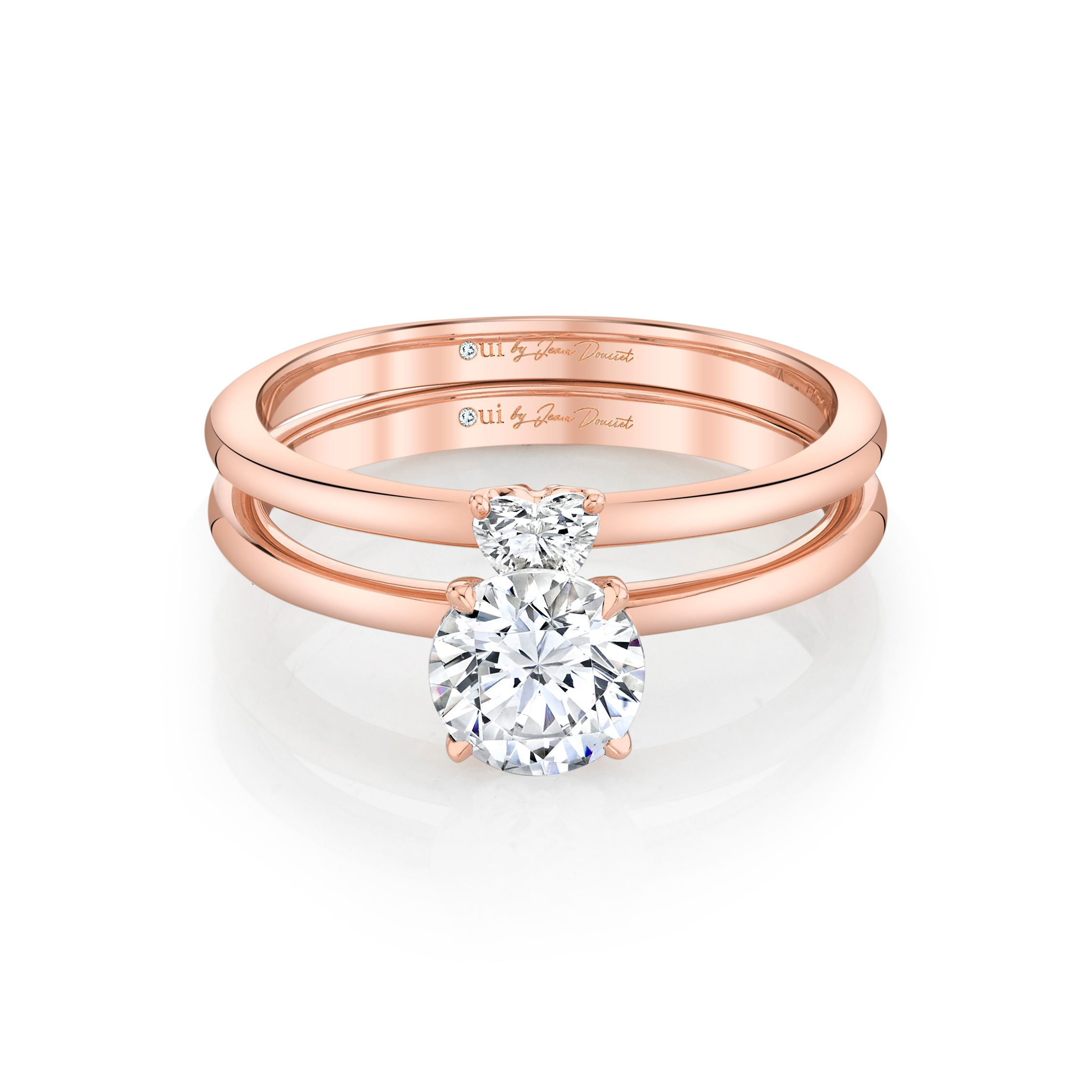 Perfect Duo Interlocking Round Brilliant Solitaire Engagement Ring & Heart Diamond Wedding Band Set 18k Rose Gold Front View by Oui by Jean Dousset