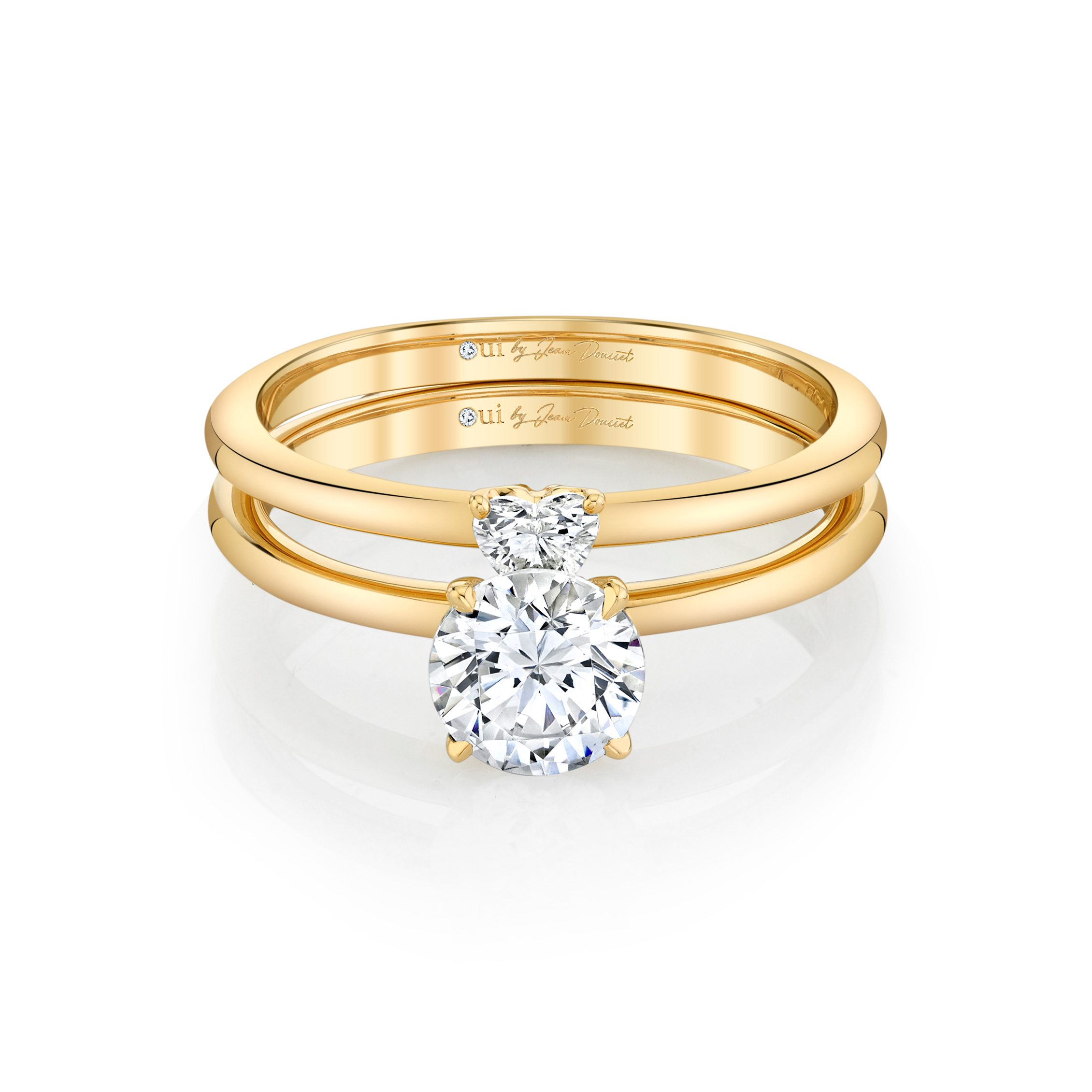 Perfect Duo Interlocking Round Brilliant Solitaire Engagement Ring & Heart Diamond Wedding Band Set 18k Yellow Gold Front View by Oui by Jean Dousset