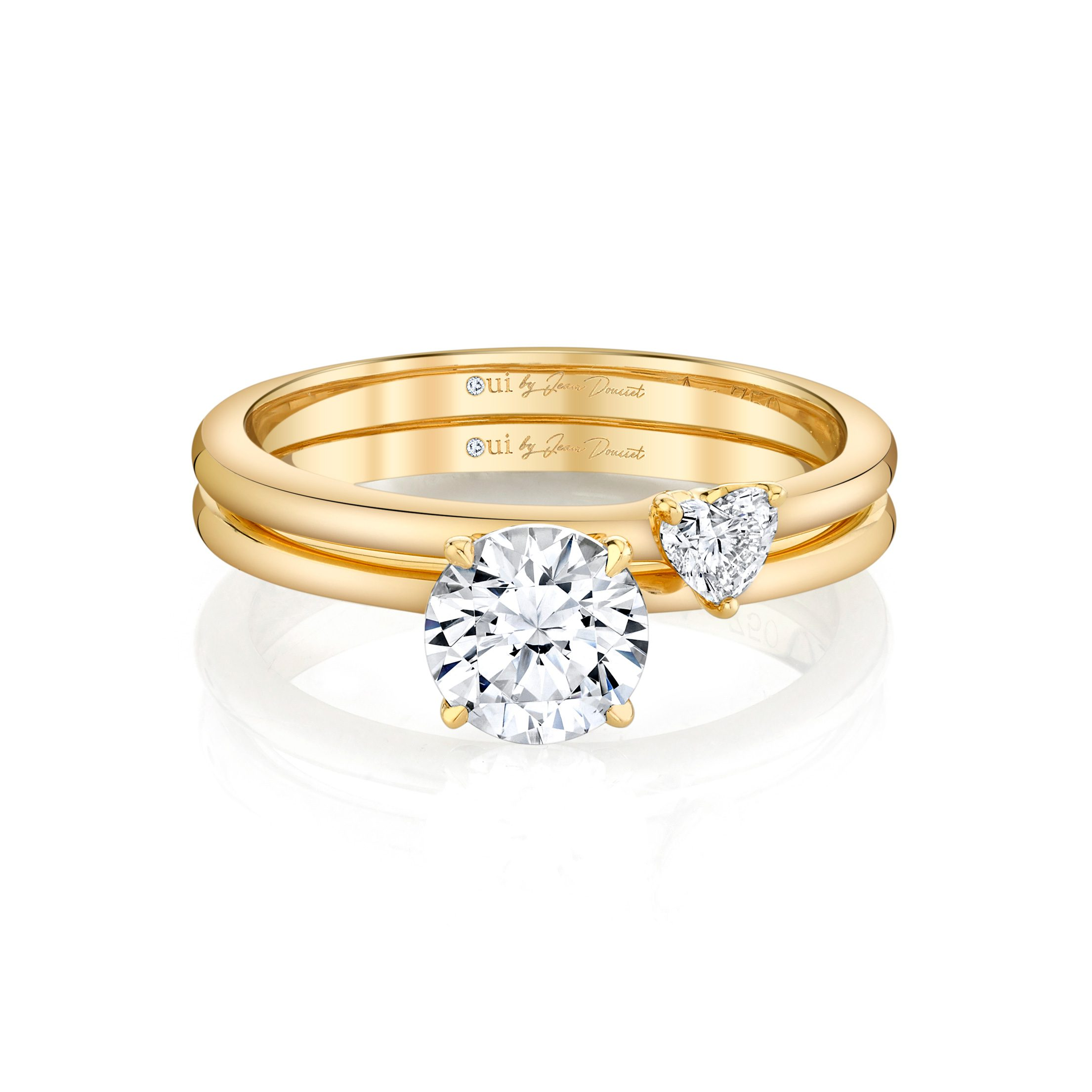 Perfect Duo Interlocking Round Brilliant Solitaire Engagement Ring & Heart Diamond Wedding Band Set 18k Yellow Gold Side View by Oui by Jean Dousset