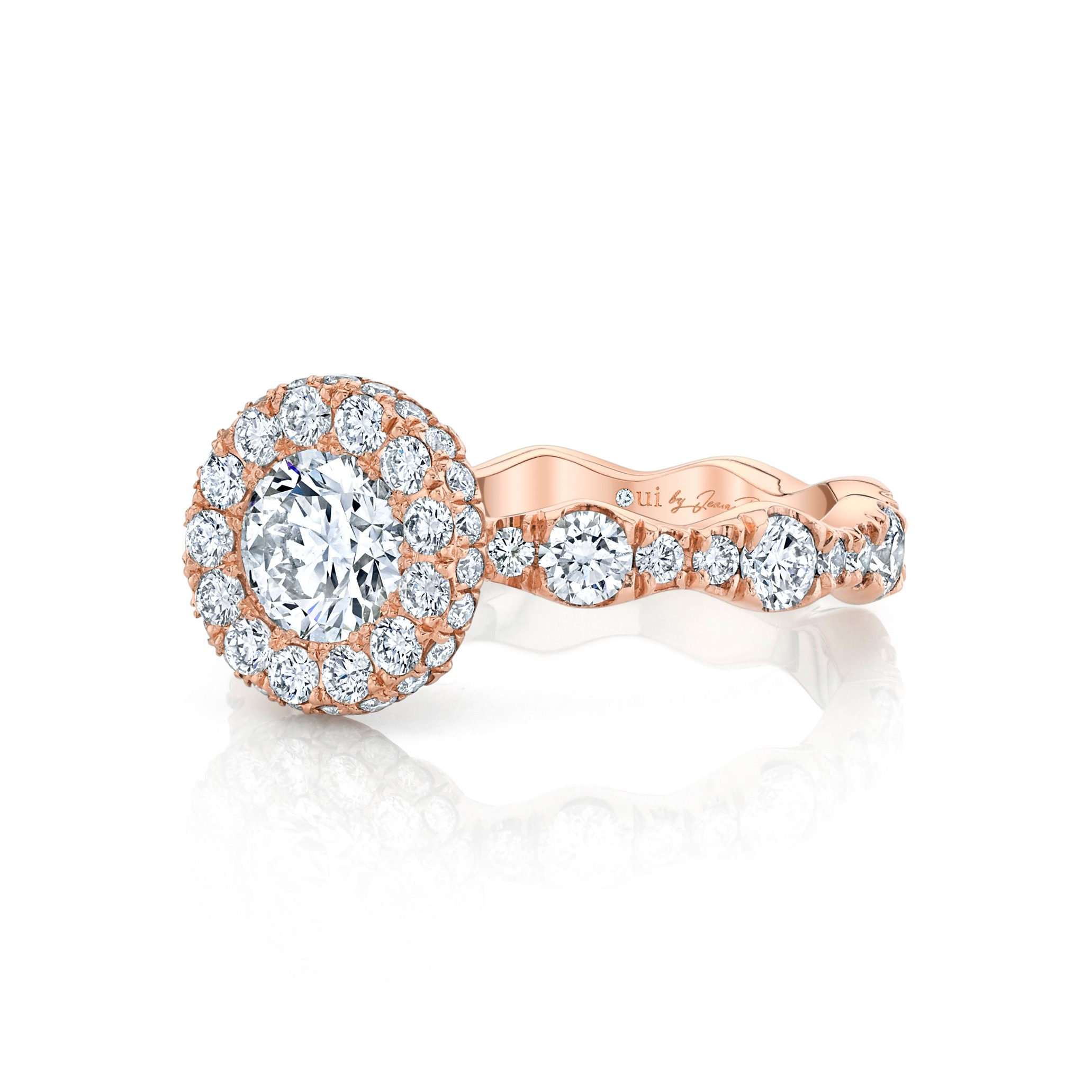 Yvonne Round Brilliant Seamless Halo® Engagement Ring 18k Rose Gold Side View by Oui by Jean Dousset