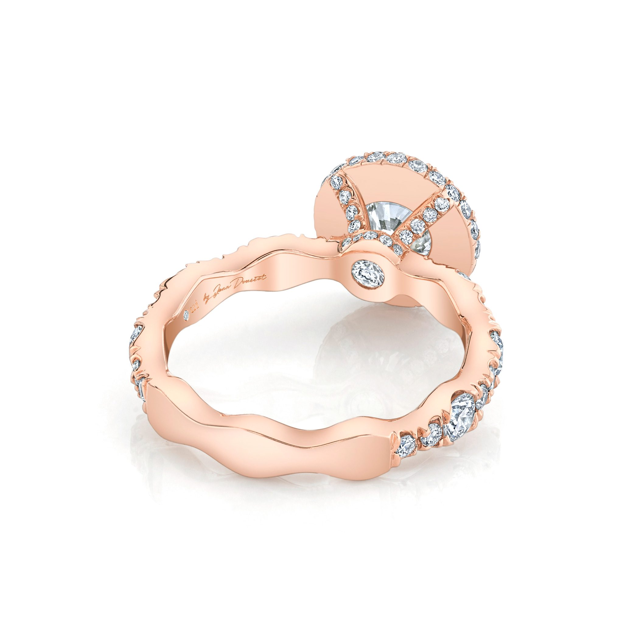 Yvonne Round Brilliant Seamless Halo® Engagement Ring 18k Rose Gold Back View by Oui by Jean Dousset