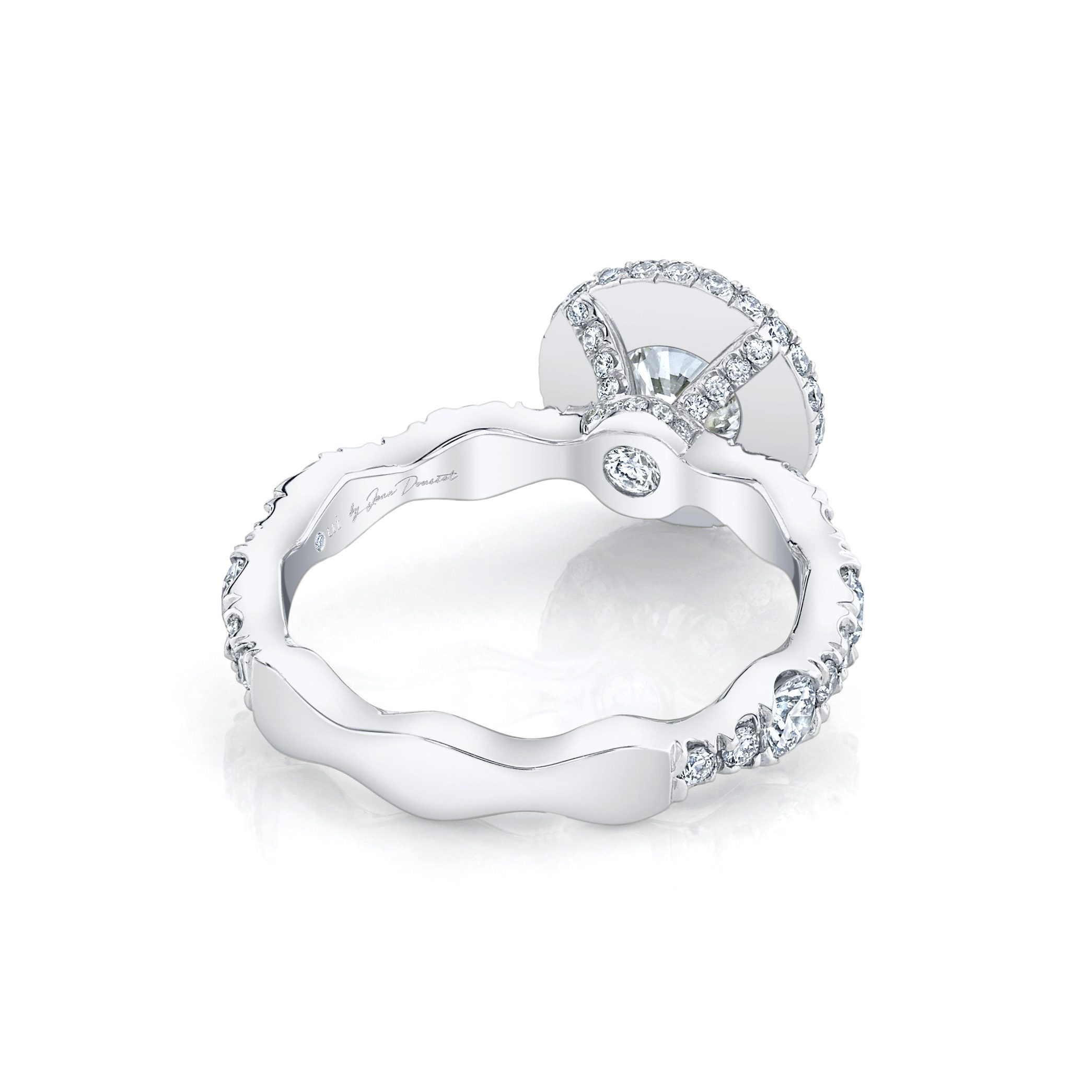 Yvonne Round Brilliant Seamless Halo® Engagement Ring 18k White Gold Back View by Oui by Jean Dousset