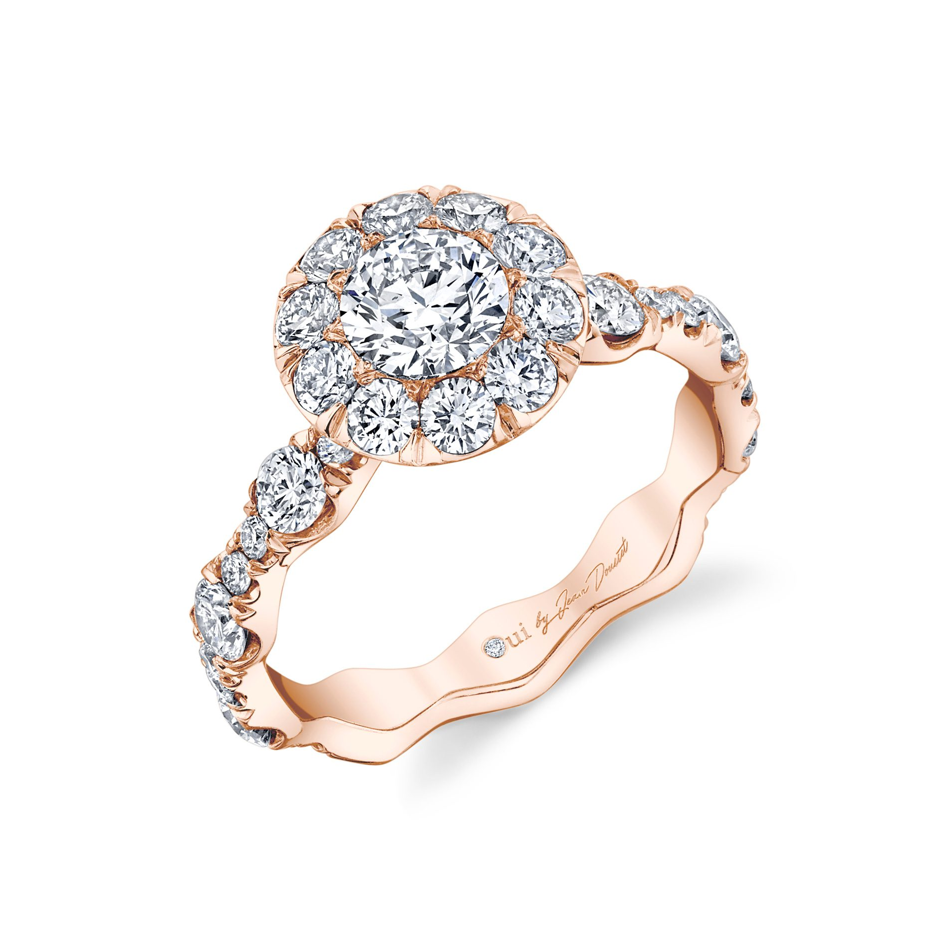 Yvonne Floating Round Brilliant Seamless Solitaire® Engagement Ring 18k Rose Gold Profile View by Oui by Jean Dousset