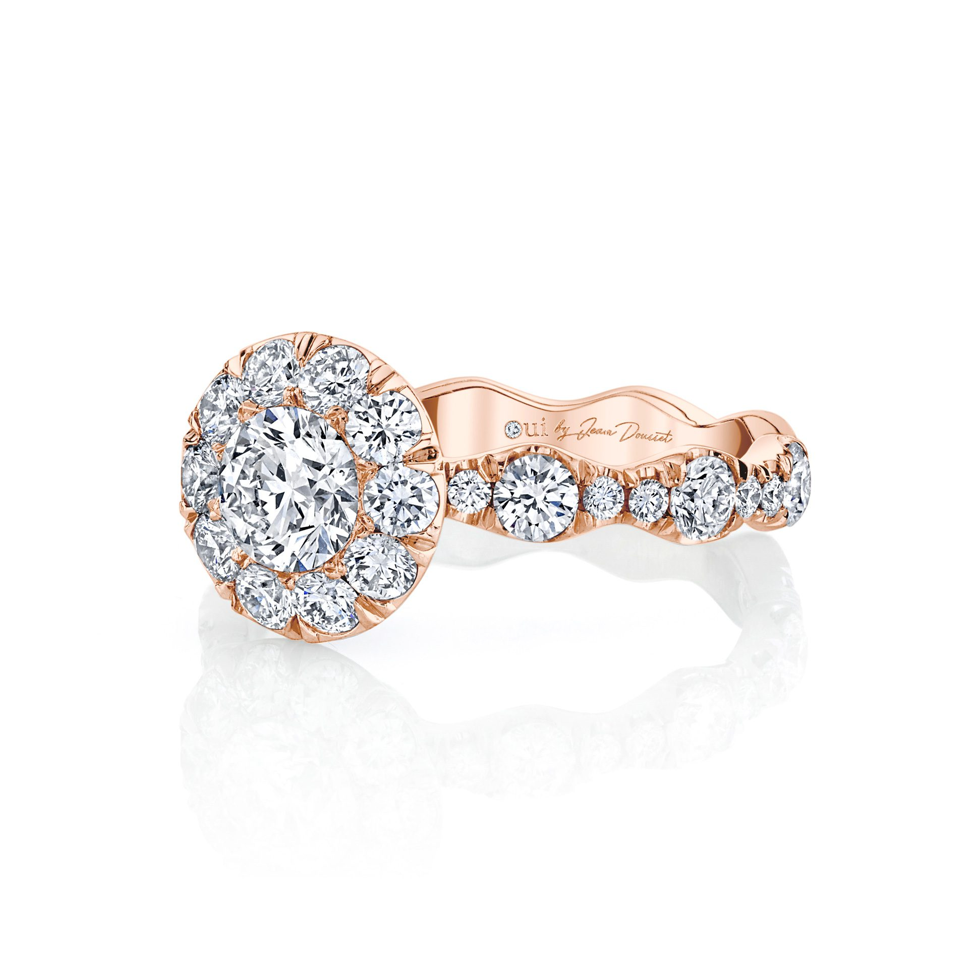 Yvonne Floating Round Brilliant Seamless Solitaire® Engagement Ring 18k Rose Gold Side View by Oui by Jean Dousset