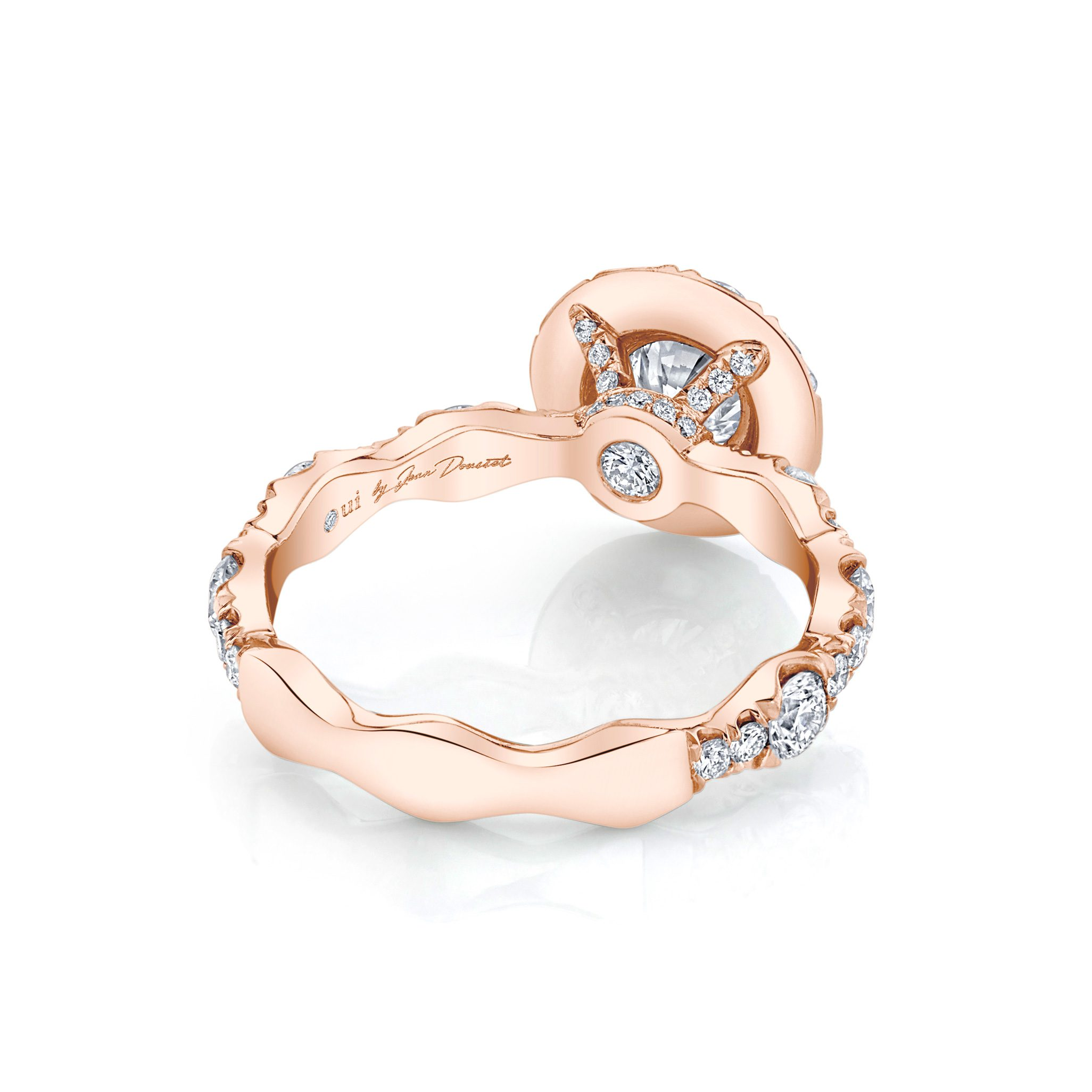 Yvonne Floating Round Brilliant Seamless Solitaire® Engagement Ring 18k Rose Gold Back View by Oui by Jean Dousset