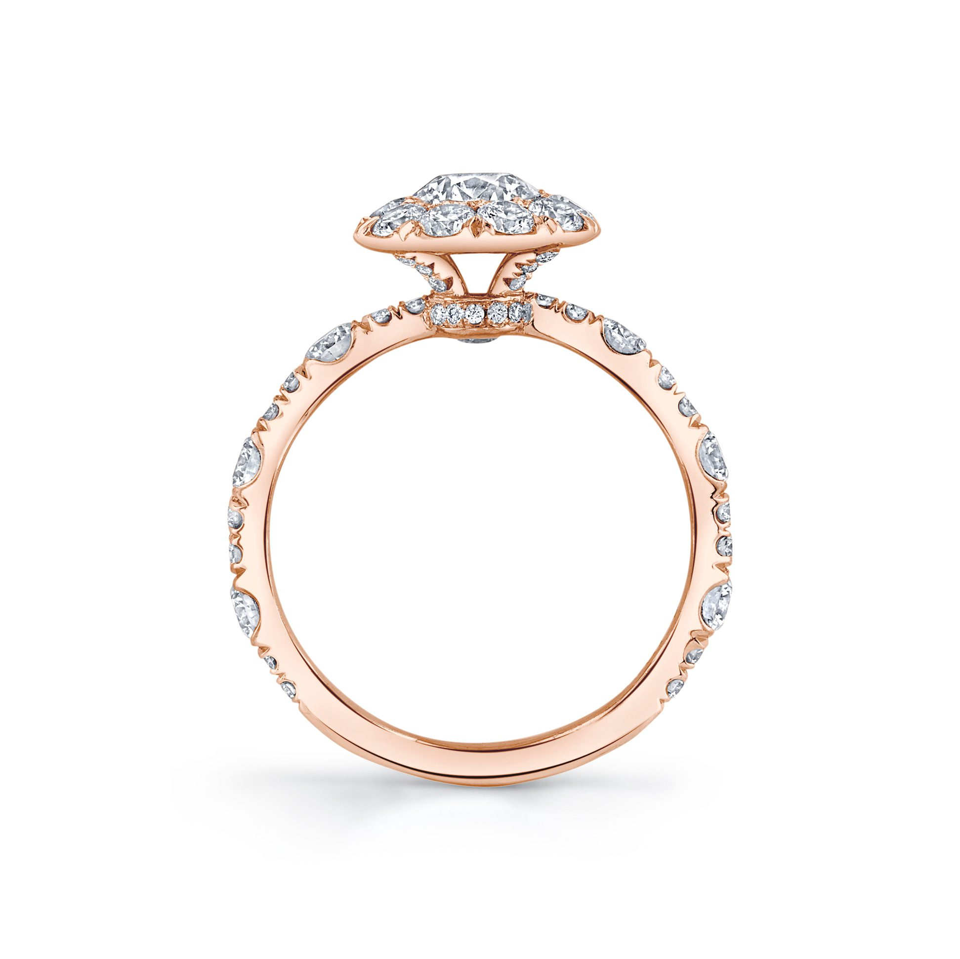 Yvonne Floating Round Brilliant Seamless Solitaire® Engagement Ring 18k Rose Gold Standing View by Oui by Jean Dousset